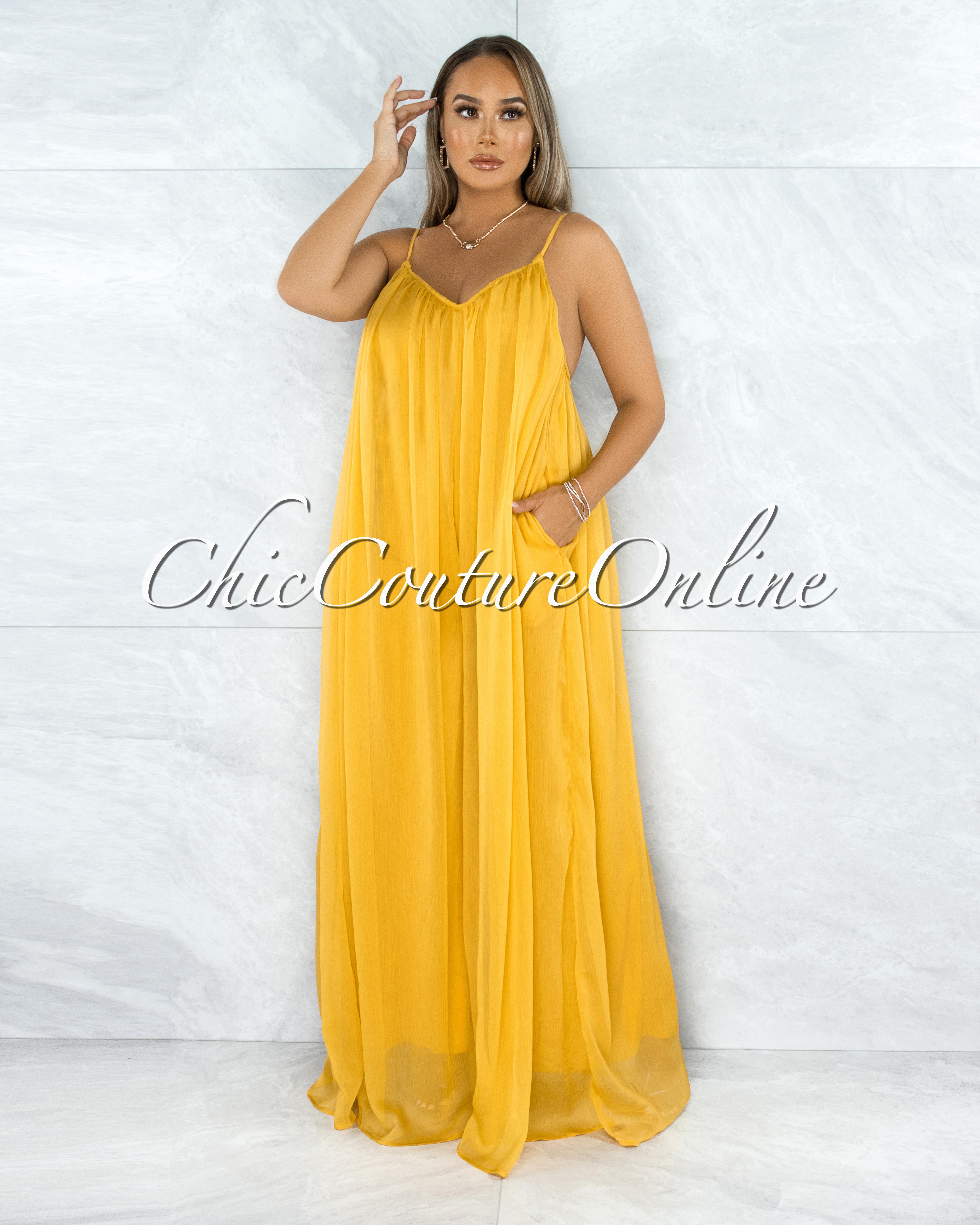 Shaban Mustard Yellow Wide Legs Shine Texture Jumpsuit