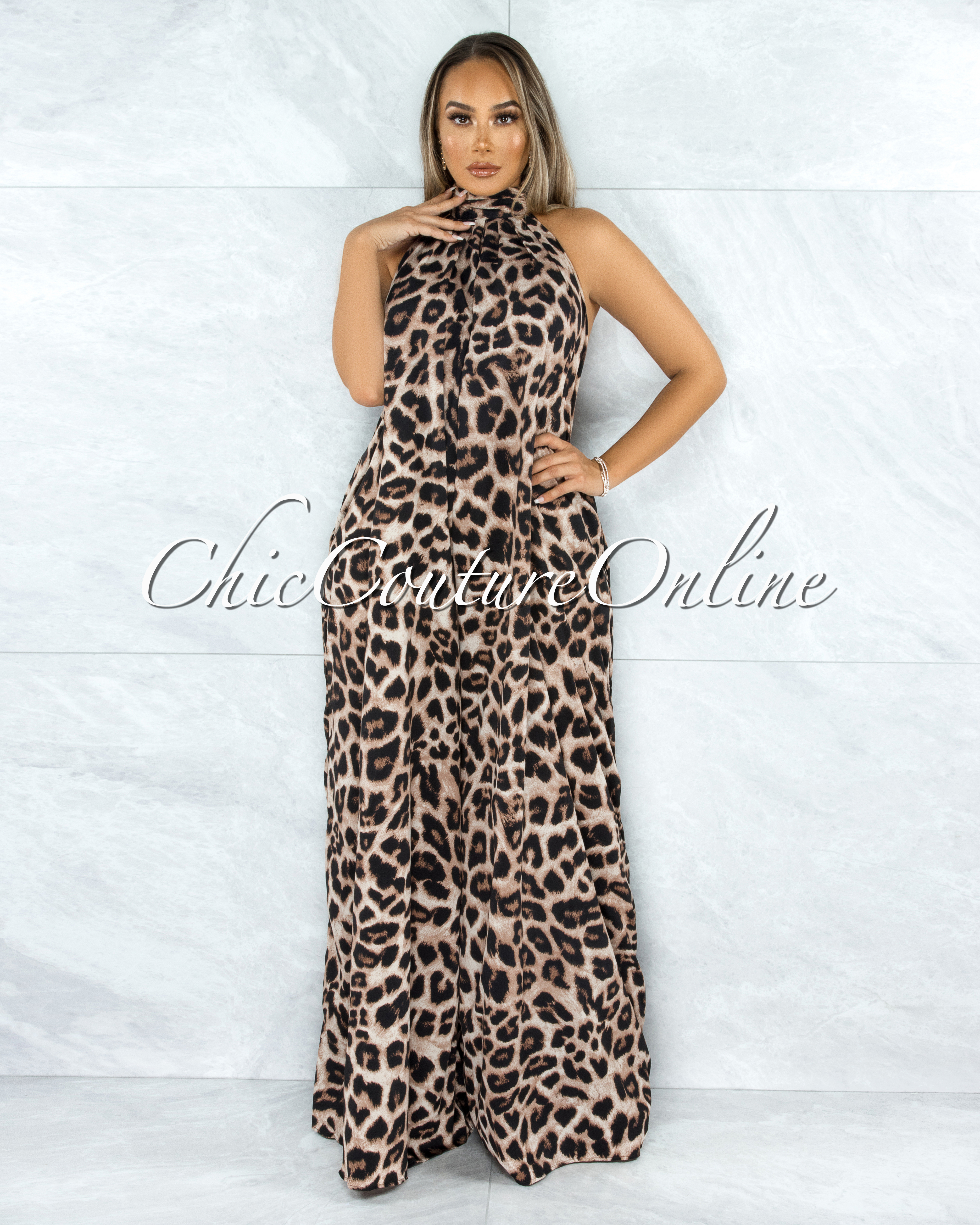 Keydy Leopard Print Halter Wide Low Back Jumpsuit