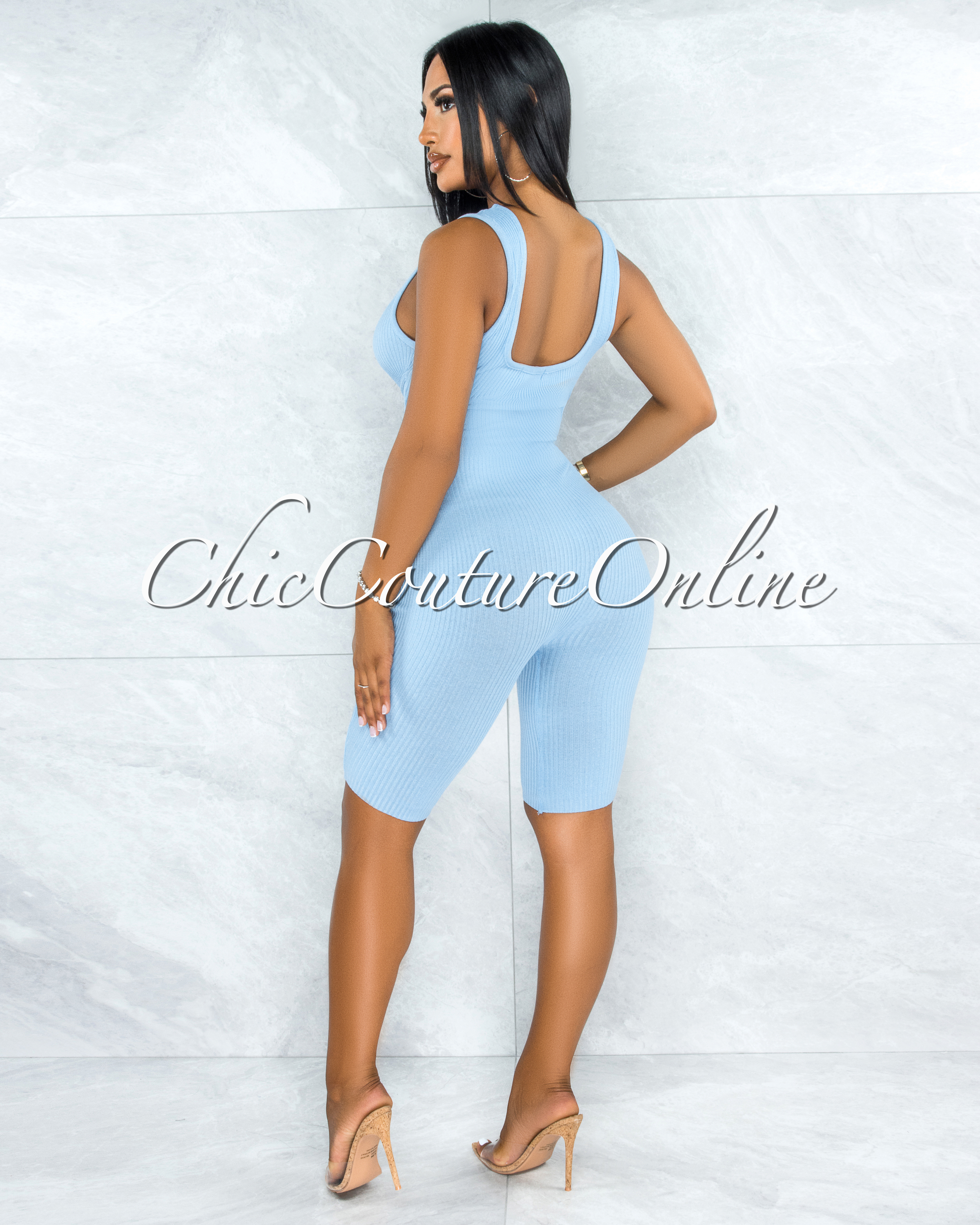 Alvita Baby Blue Ribbed Trim Round Neck Romper