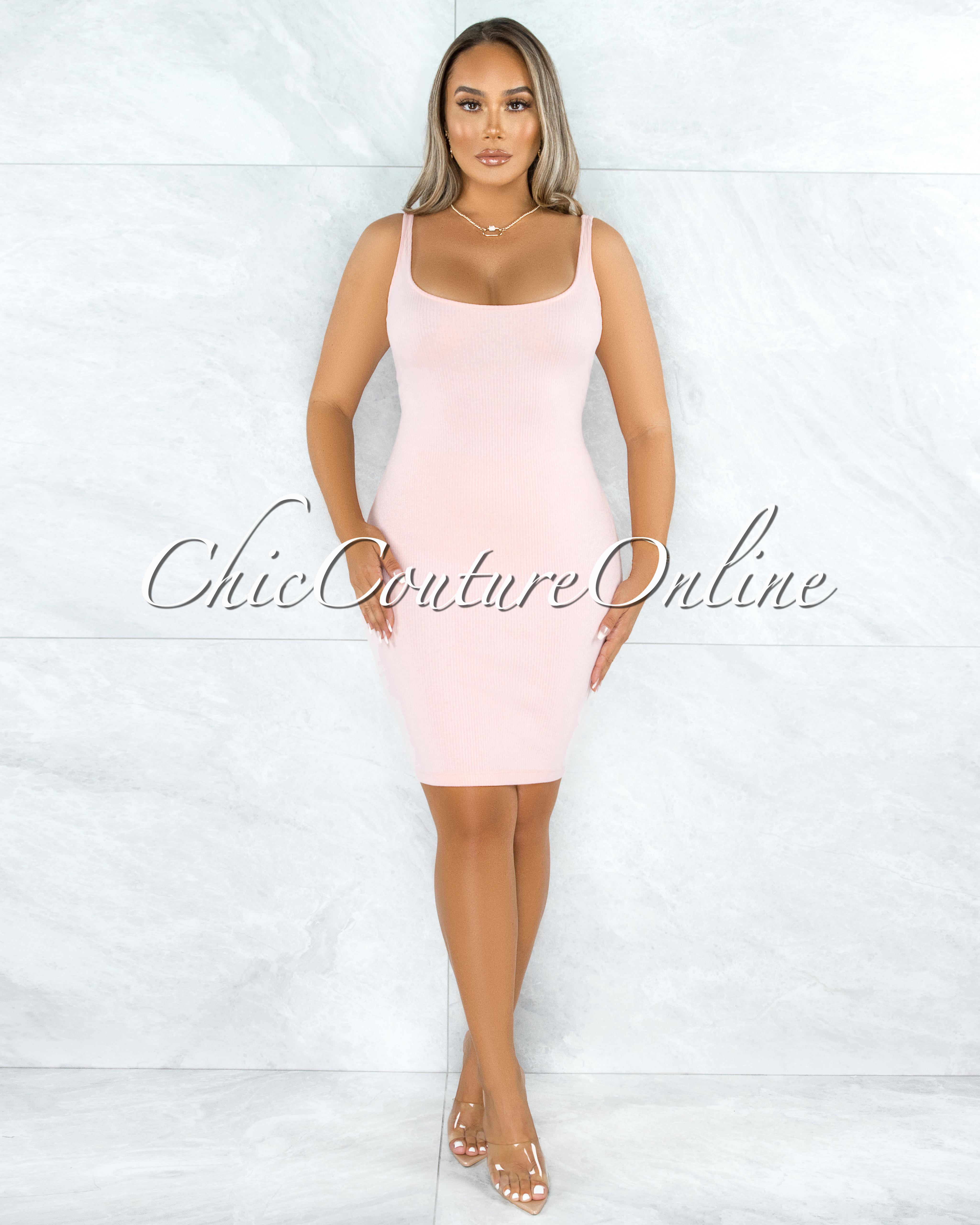 Jarrett Pink Tank Ribbed Dress