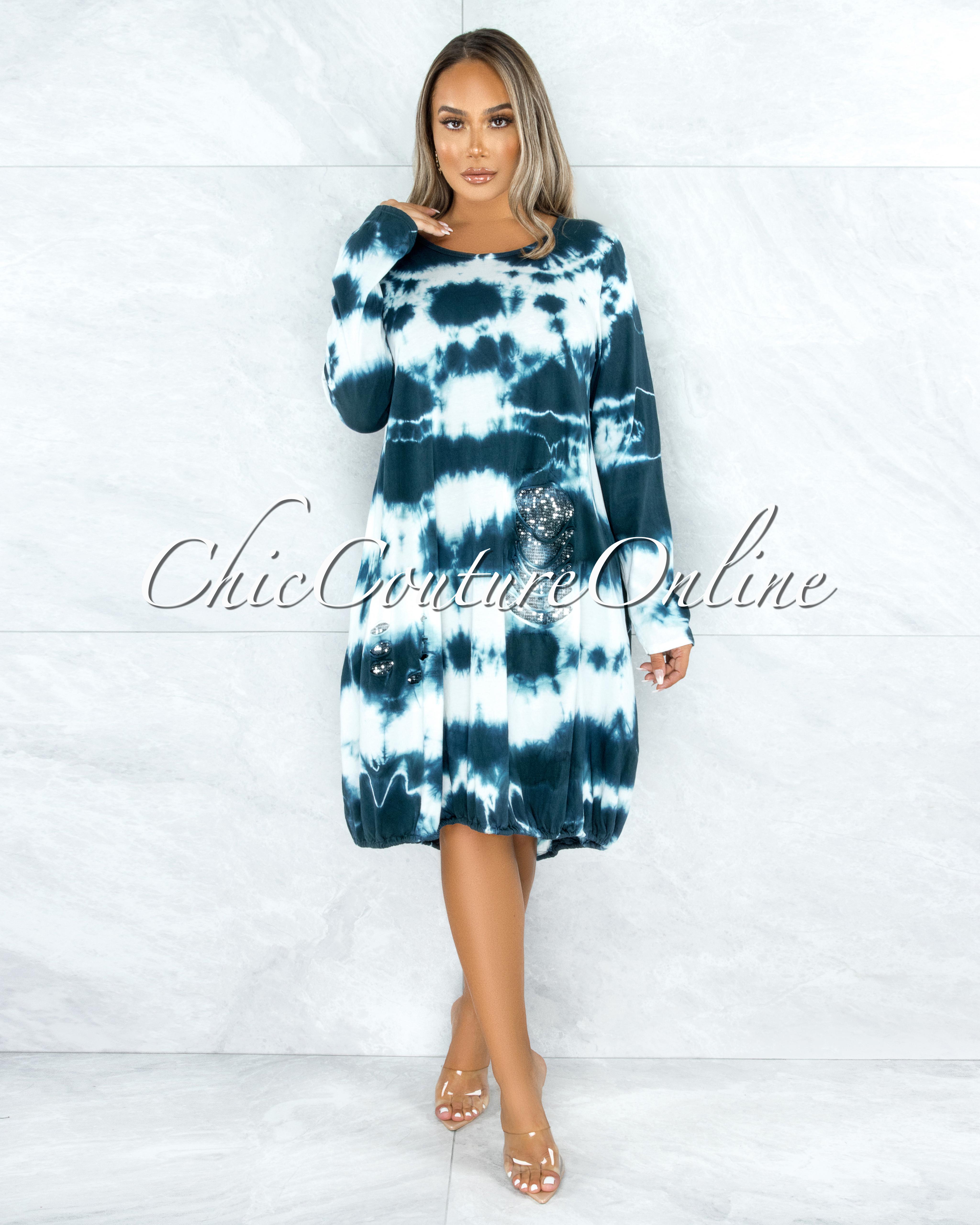 Refugia Blue Cream Tie-Dye Sequins Distressed Detail Shirt Dress