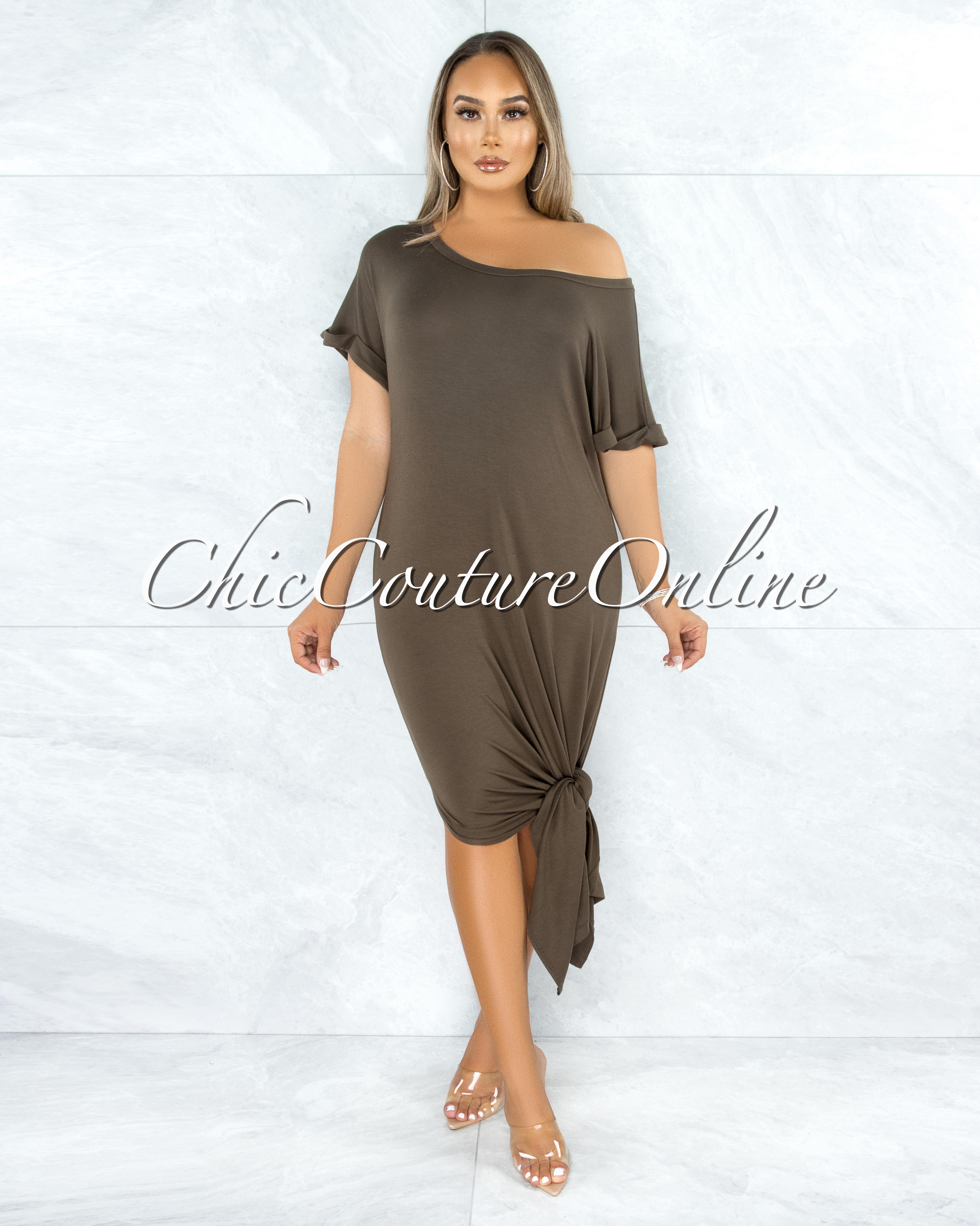 Corday Olive Green Side Slits Shirt Dress