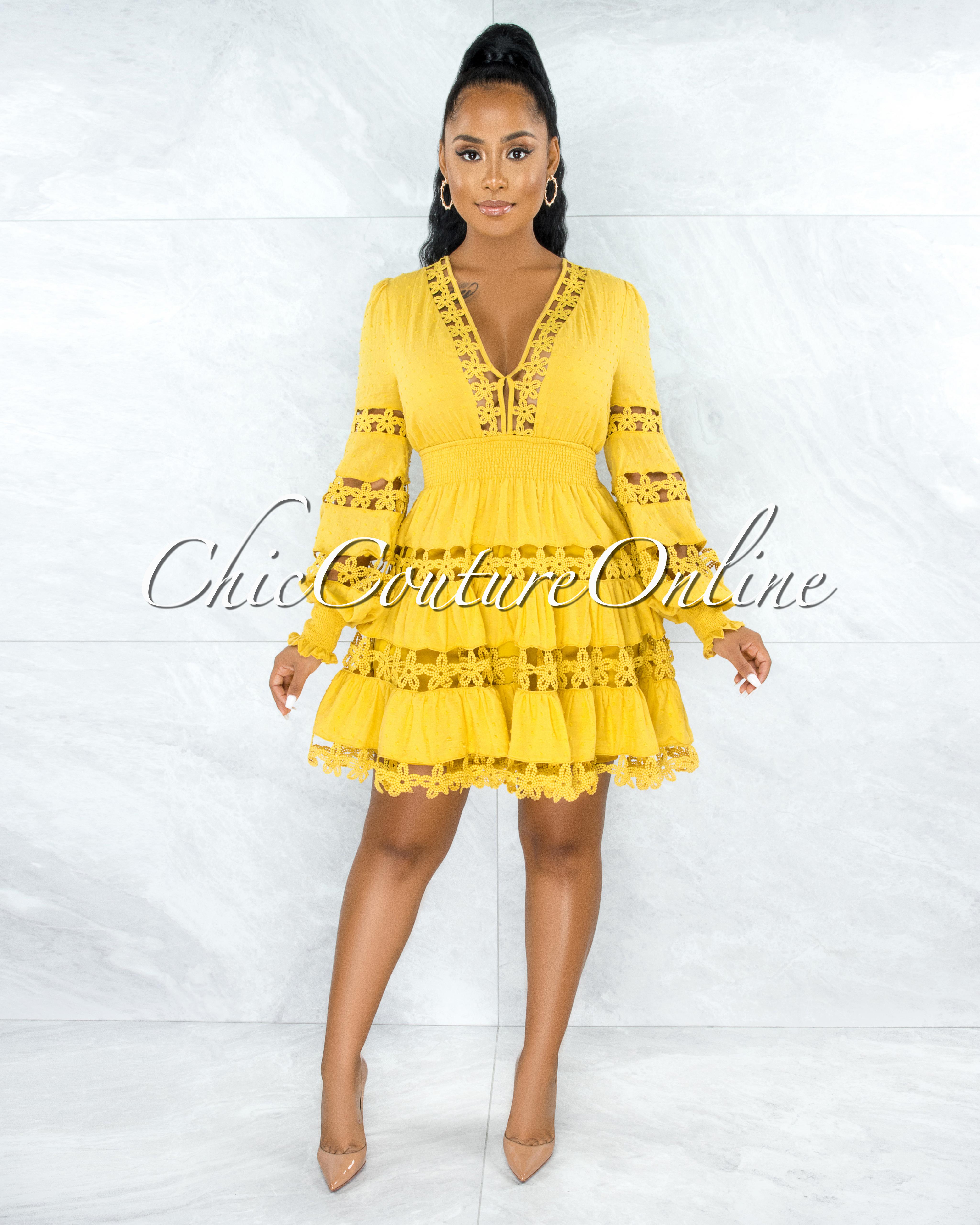 Narmada Mustard See-Through Crochet Skater Dress