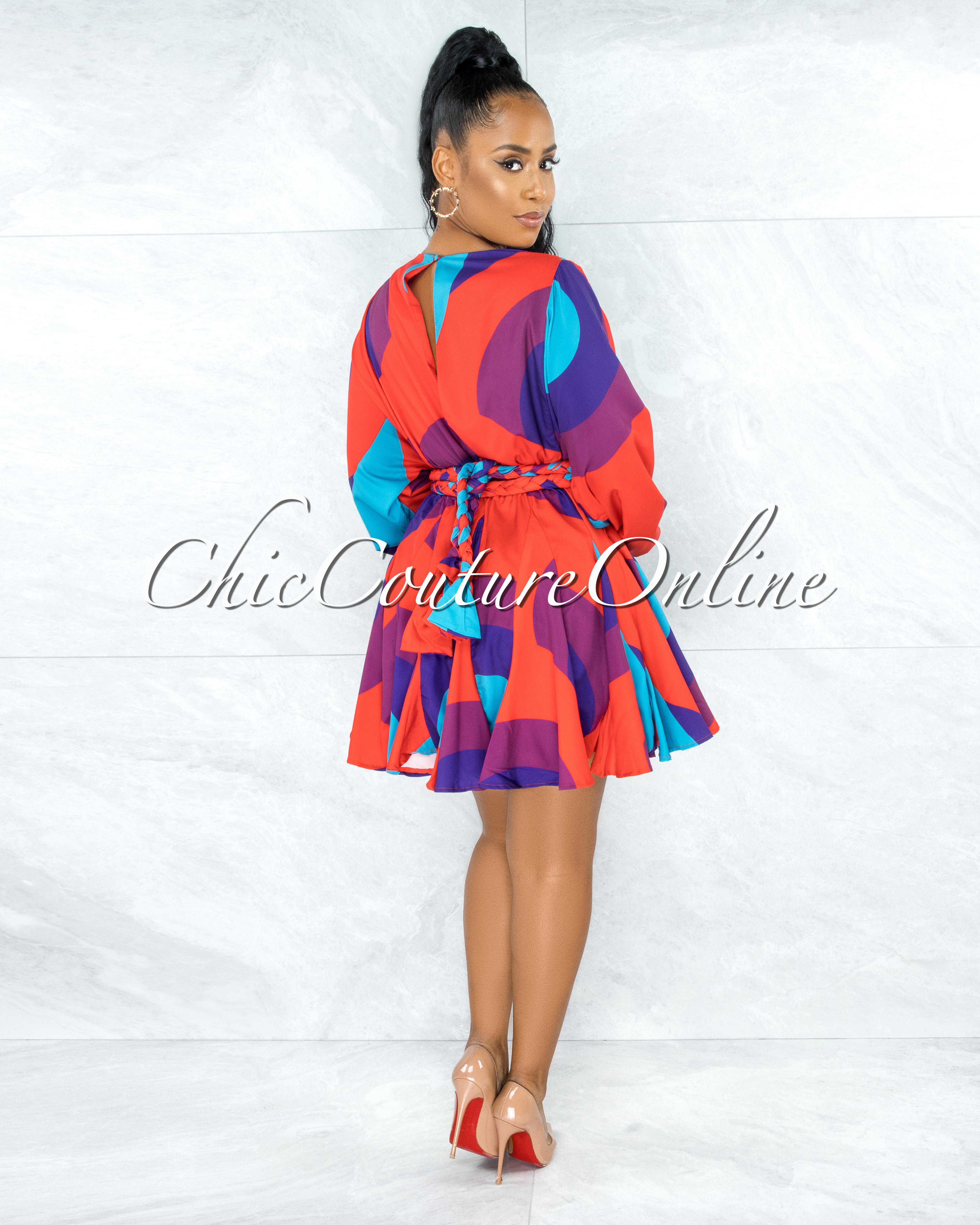 Tally Red Purple Pleated Bottom Skater Dress