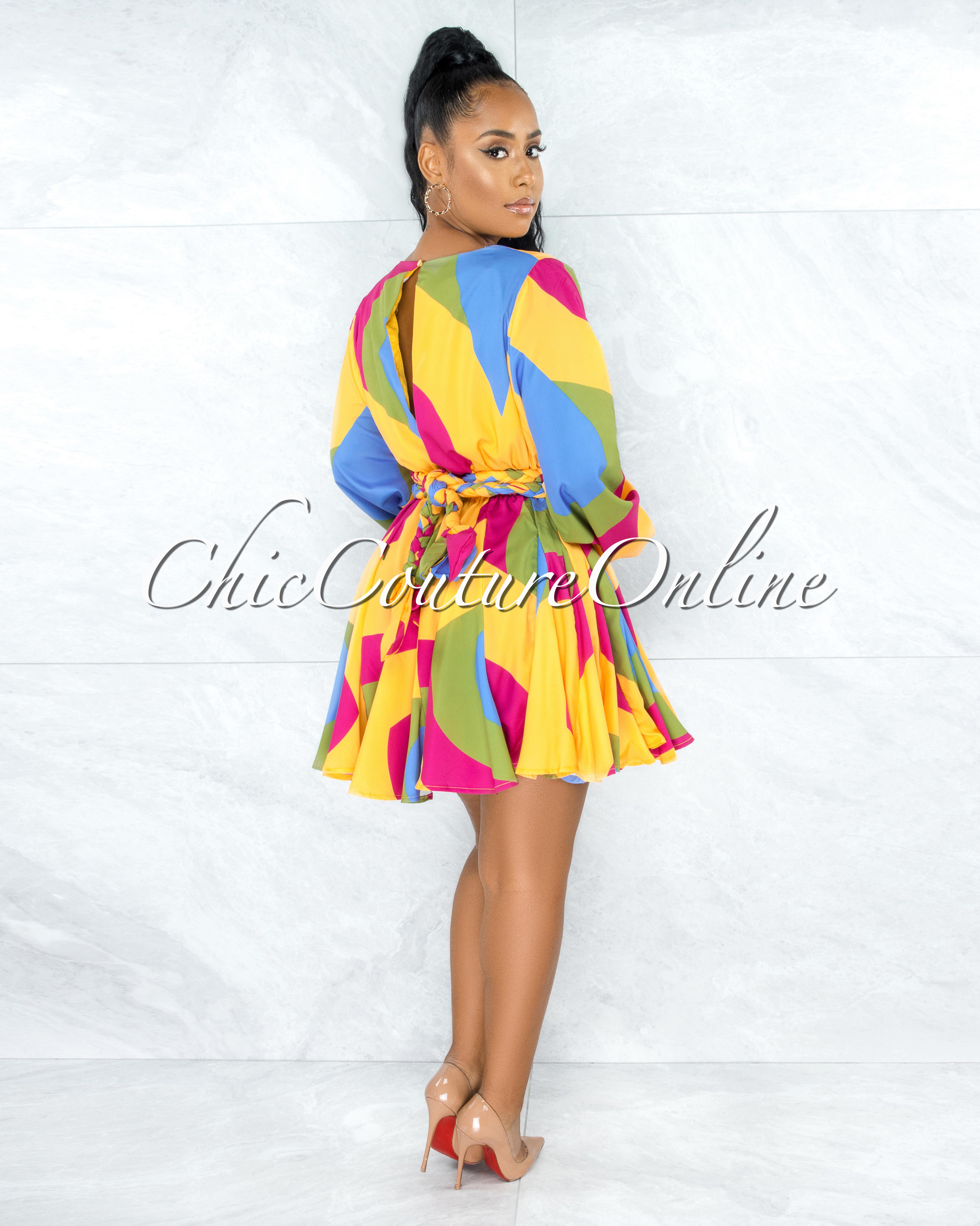Tally Yellow Magenta Pleated Bottom Skater Dress