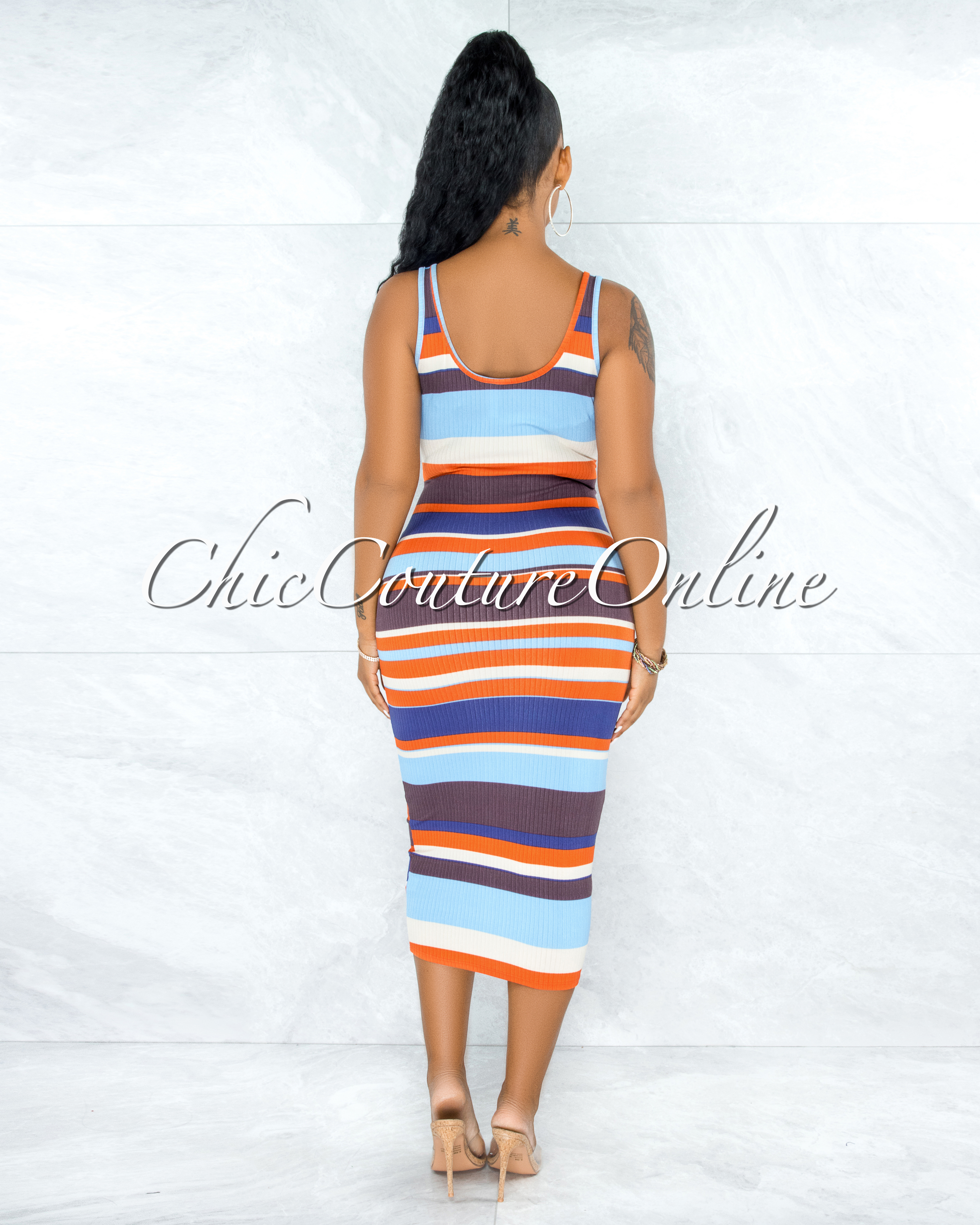 Tandie Blue Brown Stripes Ribbed Front Tie Maxi Dress