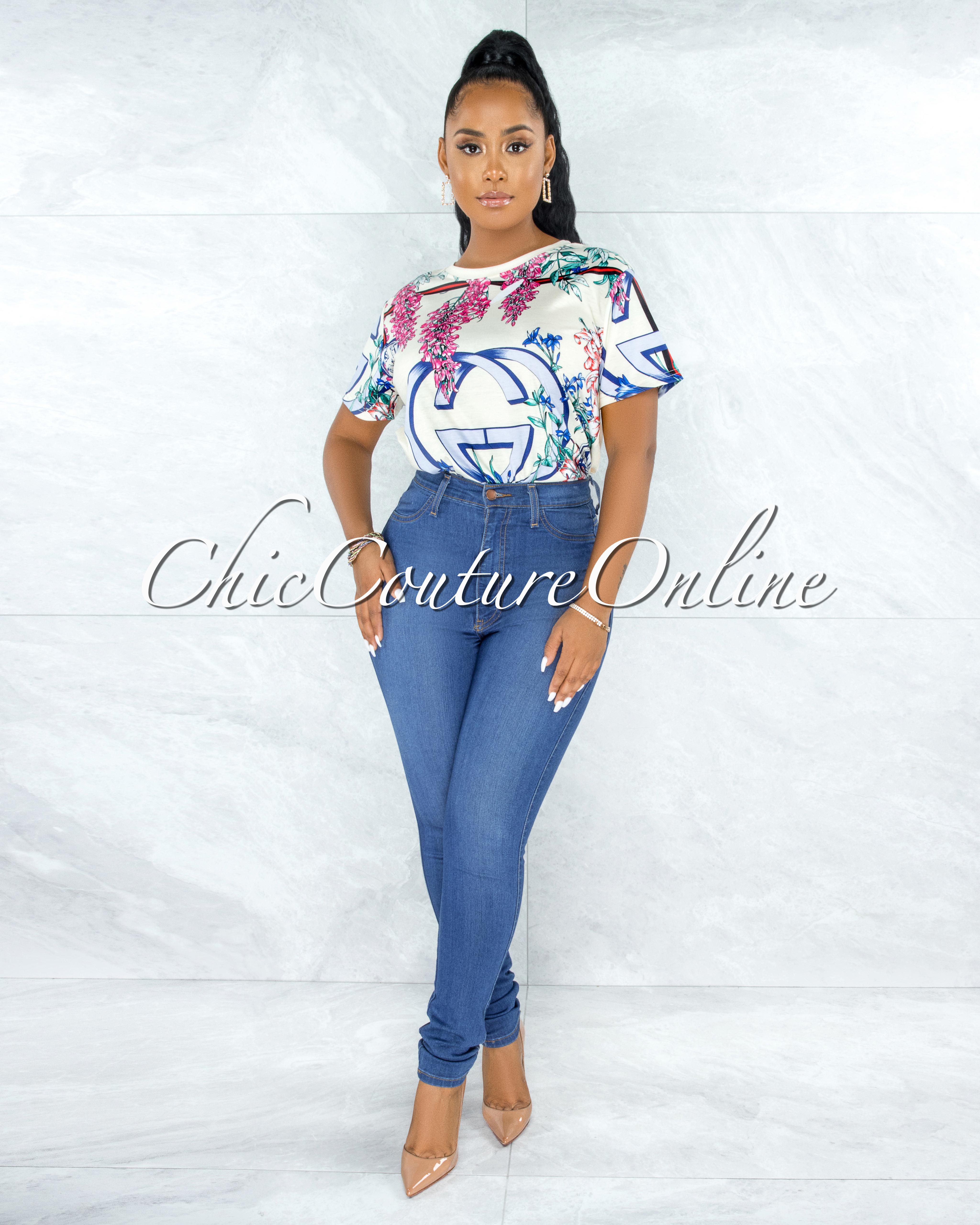 Edmar Ivory Multi-Color Print Over-Sized T-Shirt