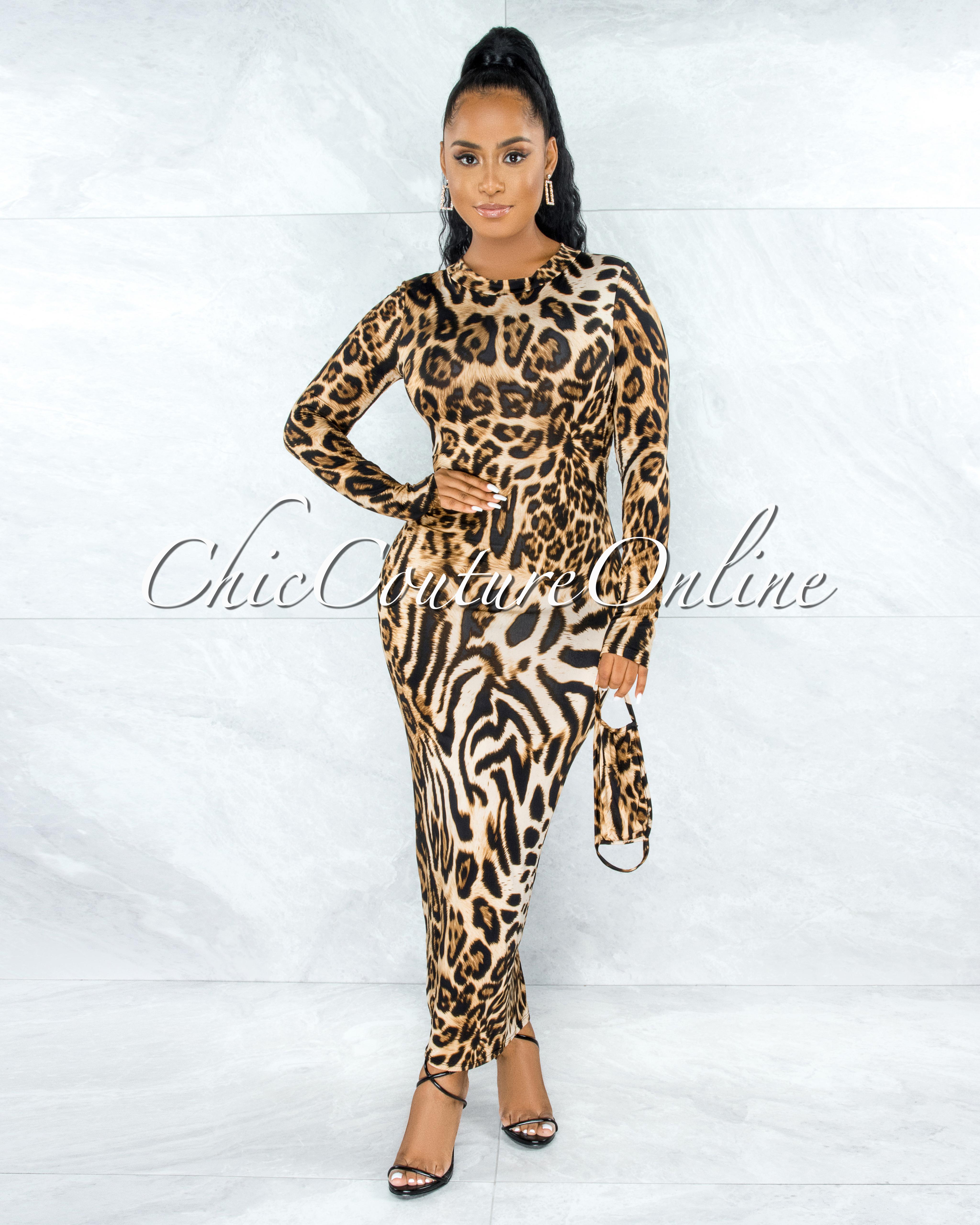 Finbar Leopard Print Off Back Key-Hole Maxi Dress w Mask