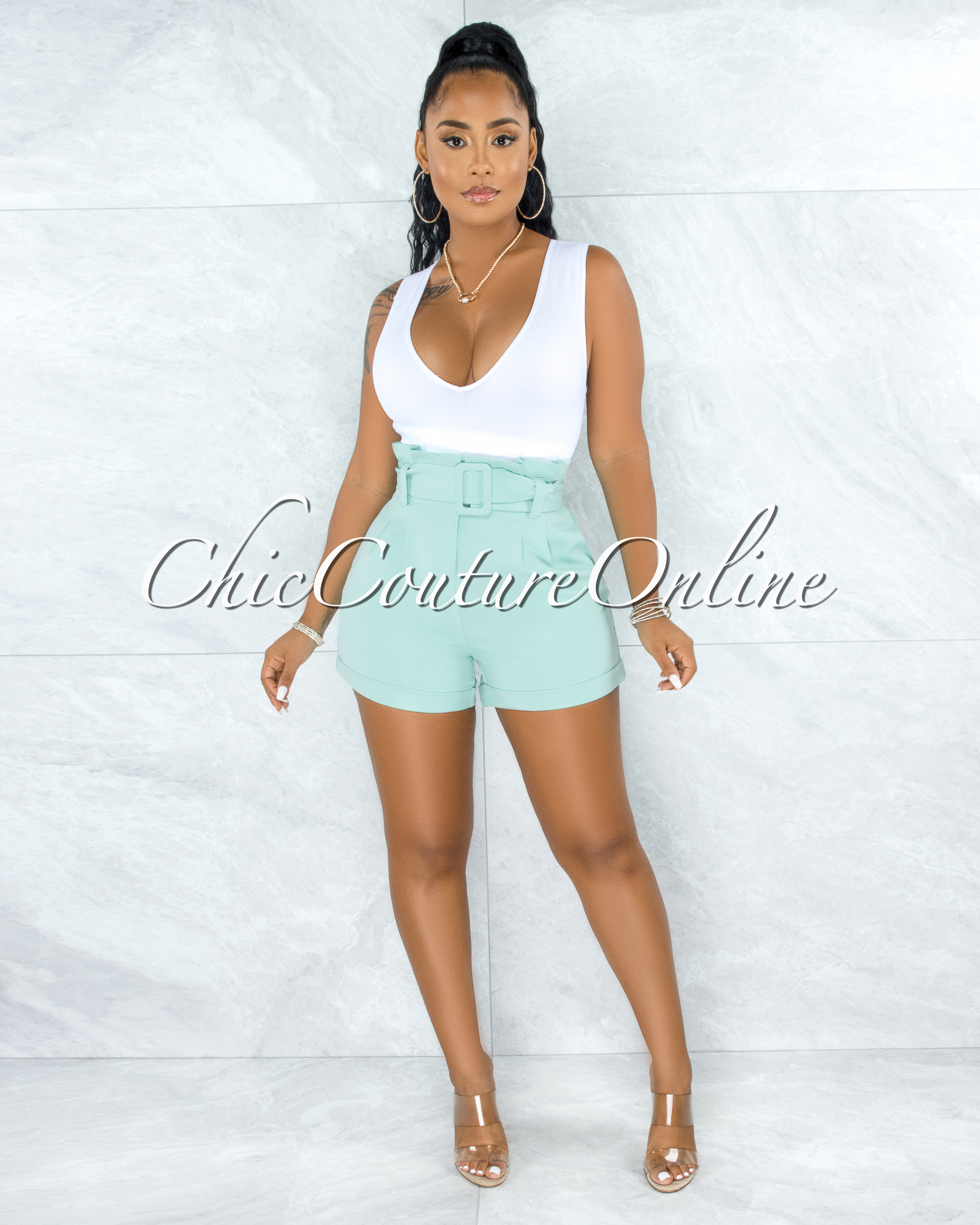 Adael Mint Paper Bag Waist Belt Shorts