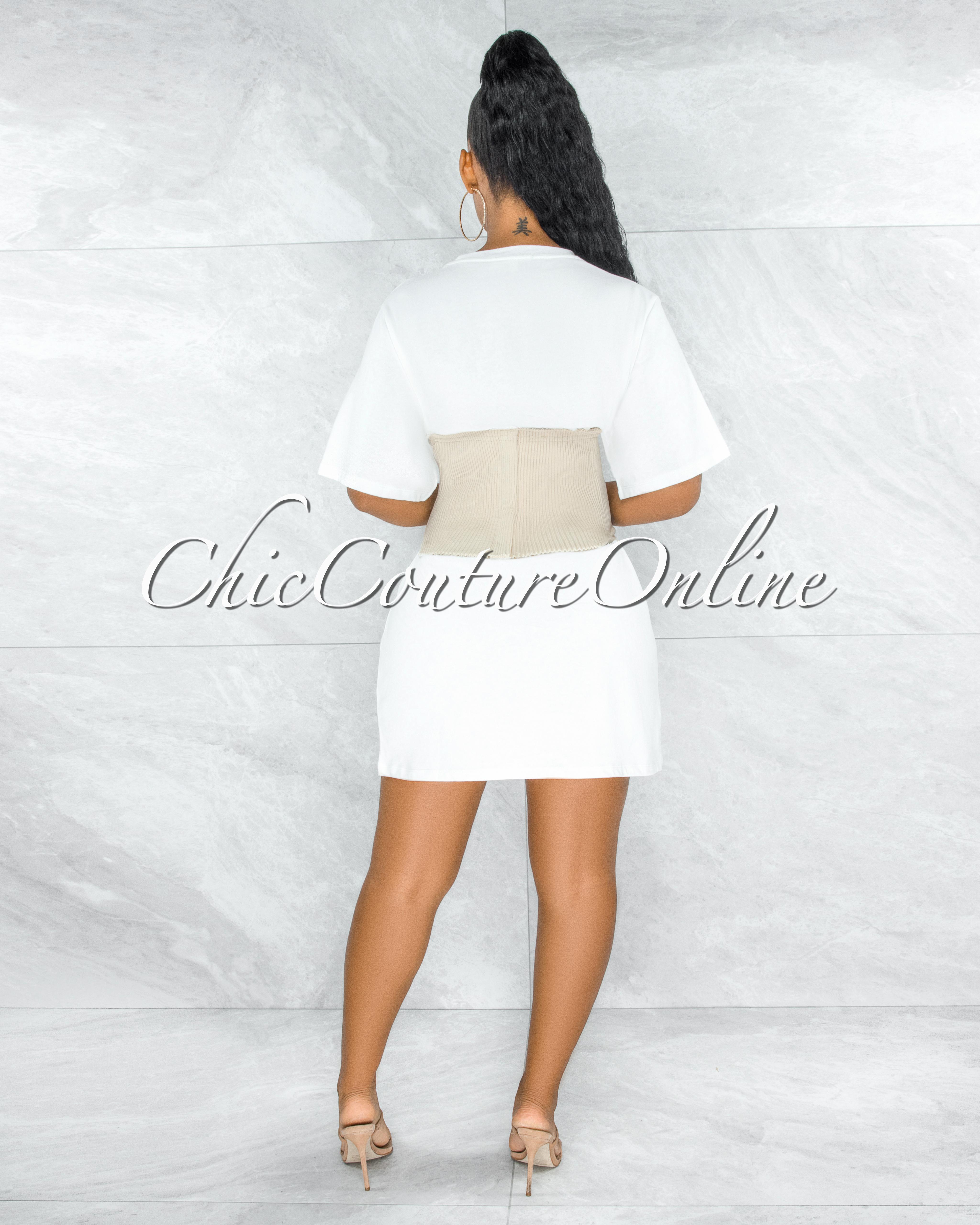 Avasa Off-White Nude Ribbed Corset Belt Shirt Dress