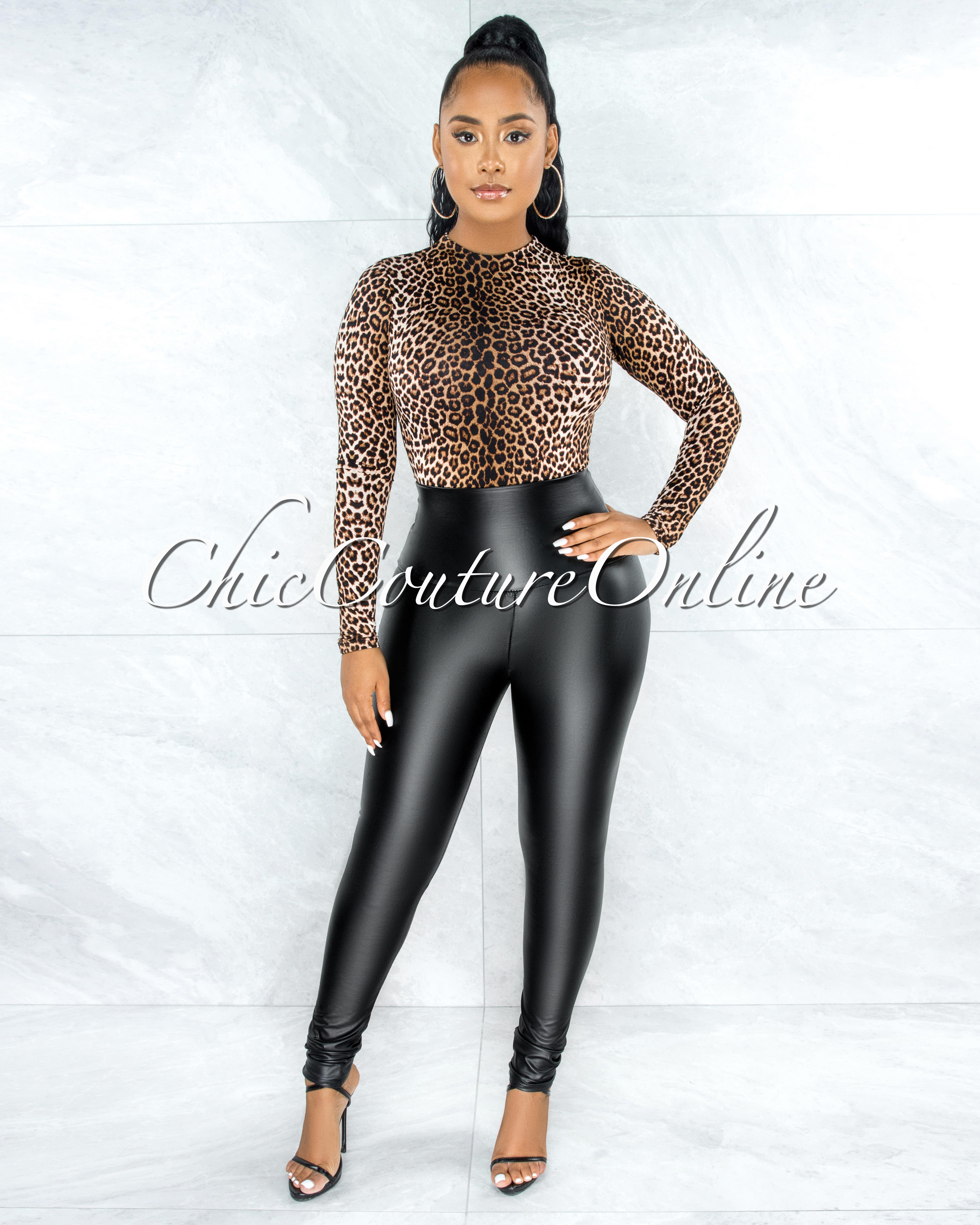 Caya Black Faux Leather High Waist Leggings
