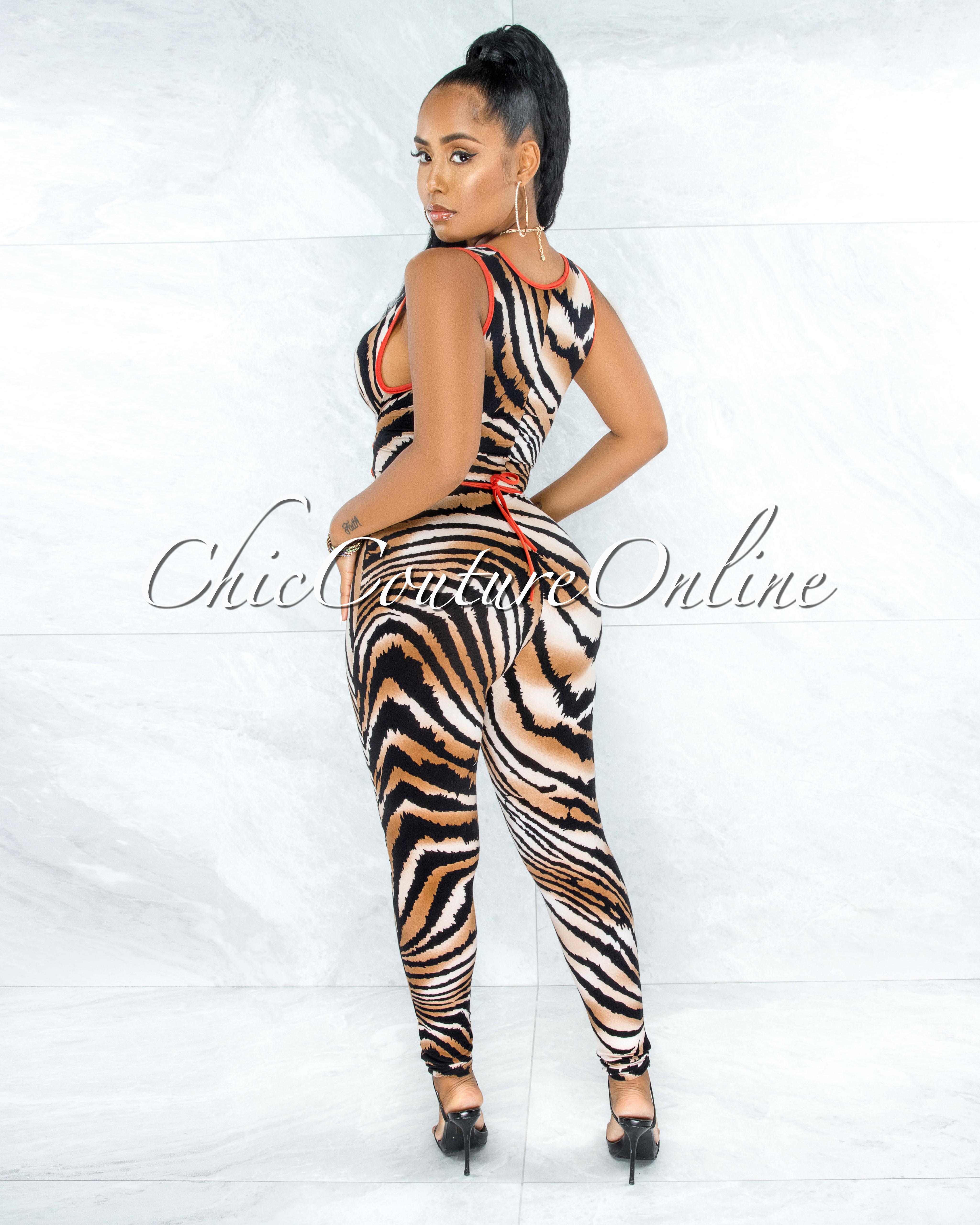 Durdana Black Brown Orange Deep V Lace-Up Jumpsuit