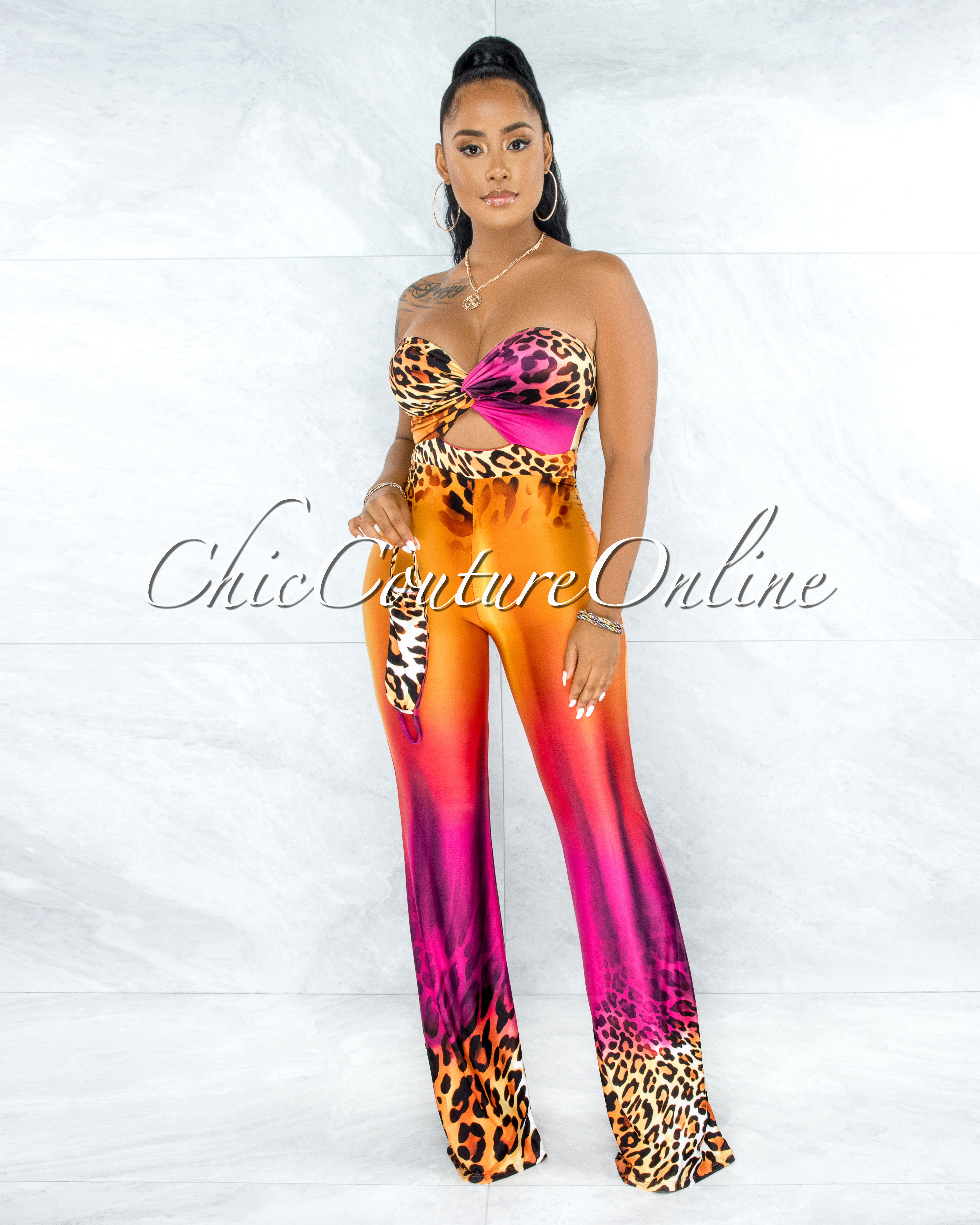 Hobbes Orange Fuchsia Leopard Print Knotted Jumpsuit w Mask