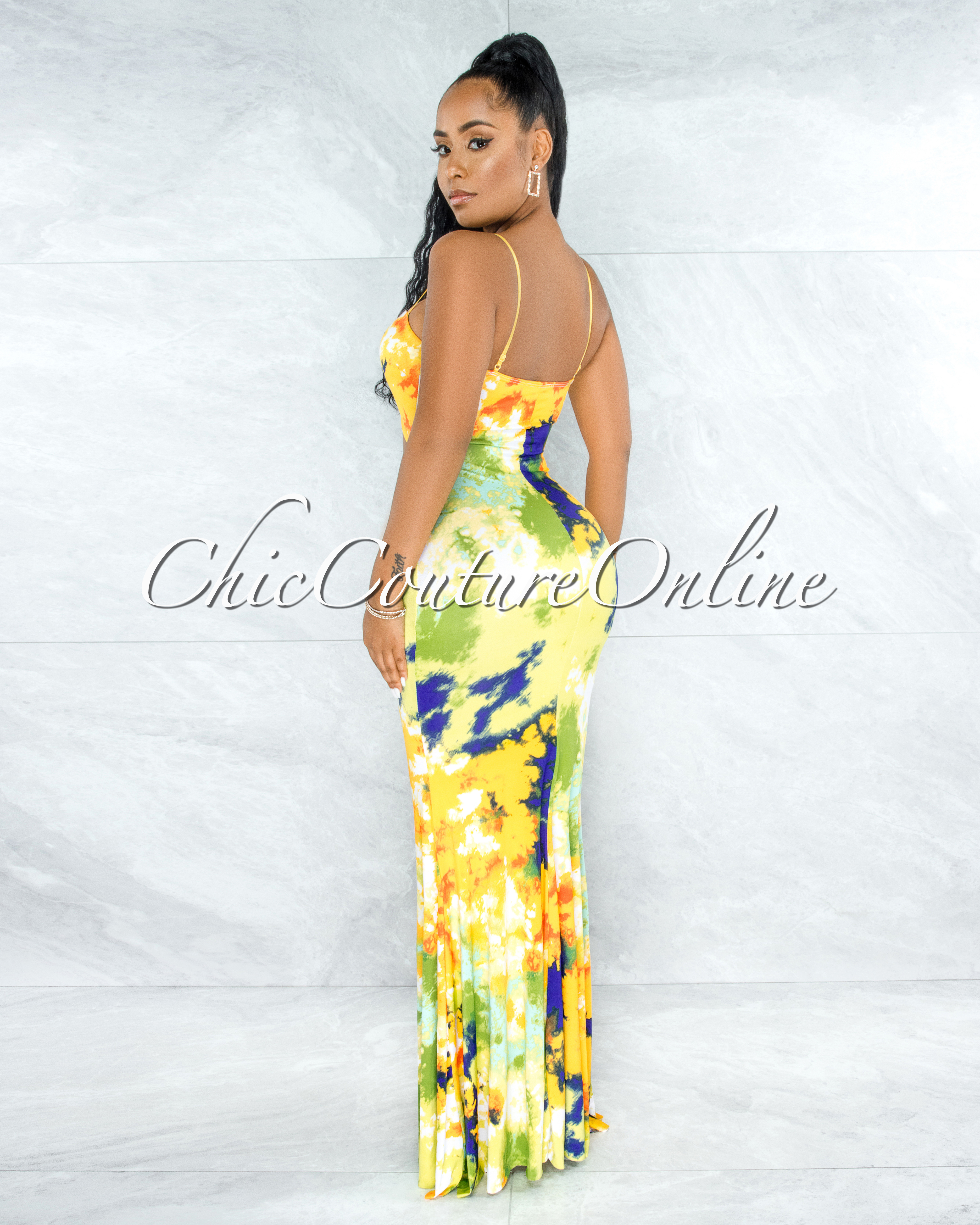 Walta Yellow Multi-Color Cut-Out Self-Tie Maxi Dress