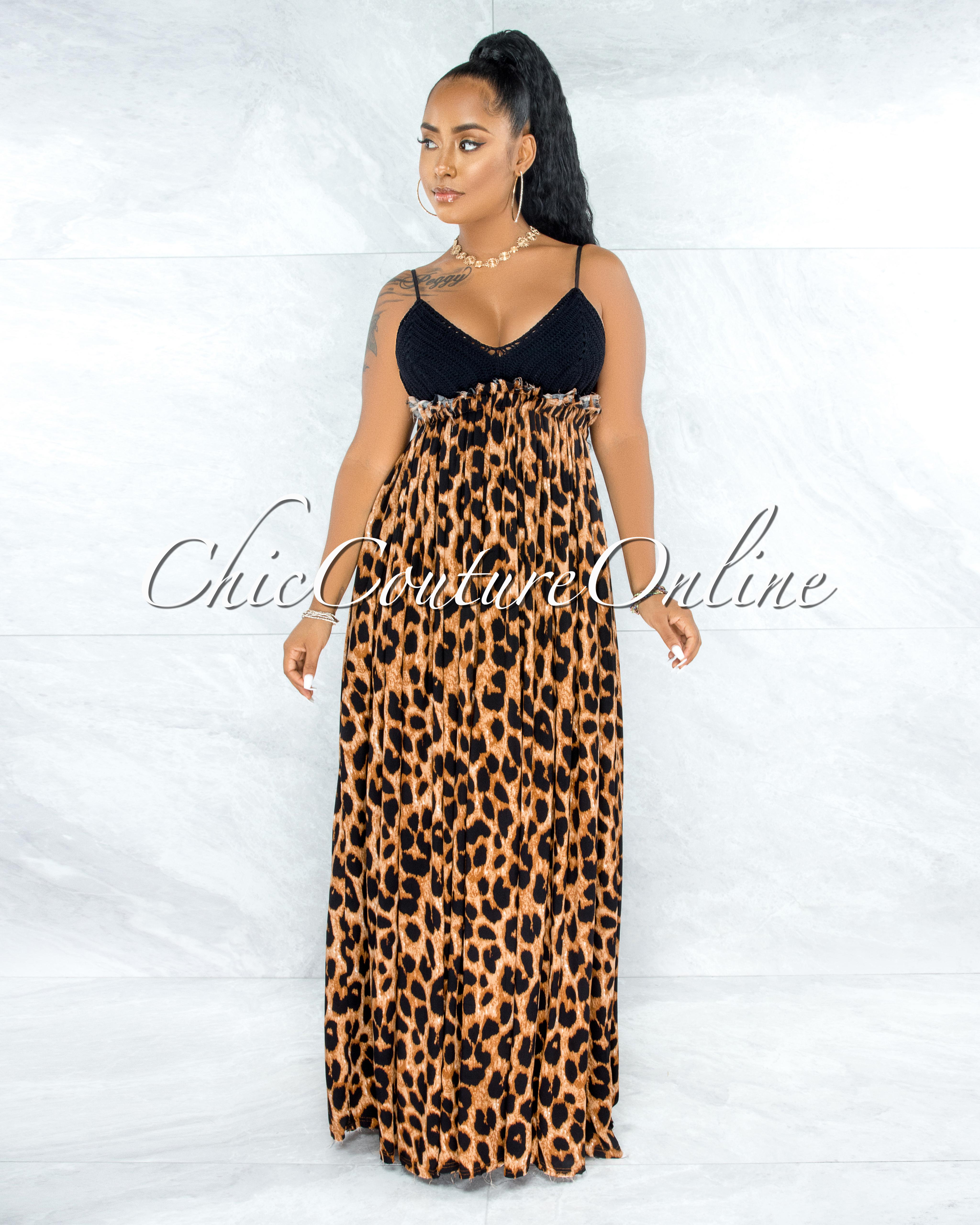 Bronx Black Crochet Top Leopard Print Open Back Maxi Dress