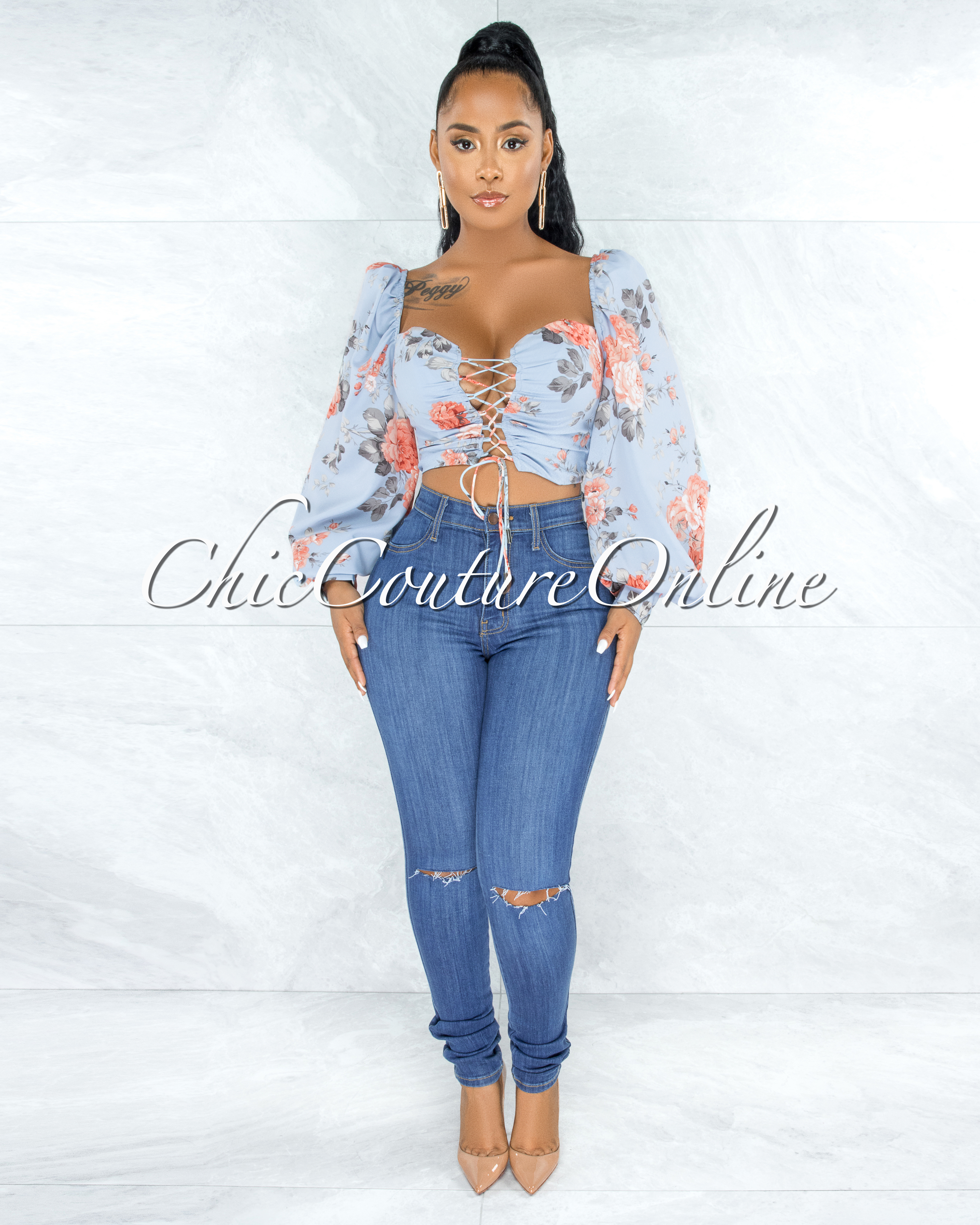 Engela Baby Blue Floral Print Front Lace-Up Crop Top