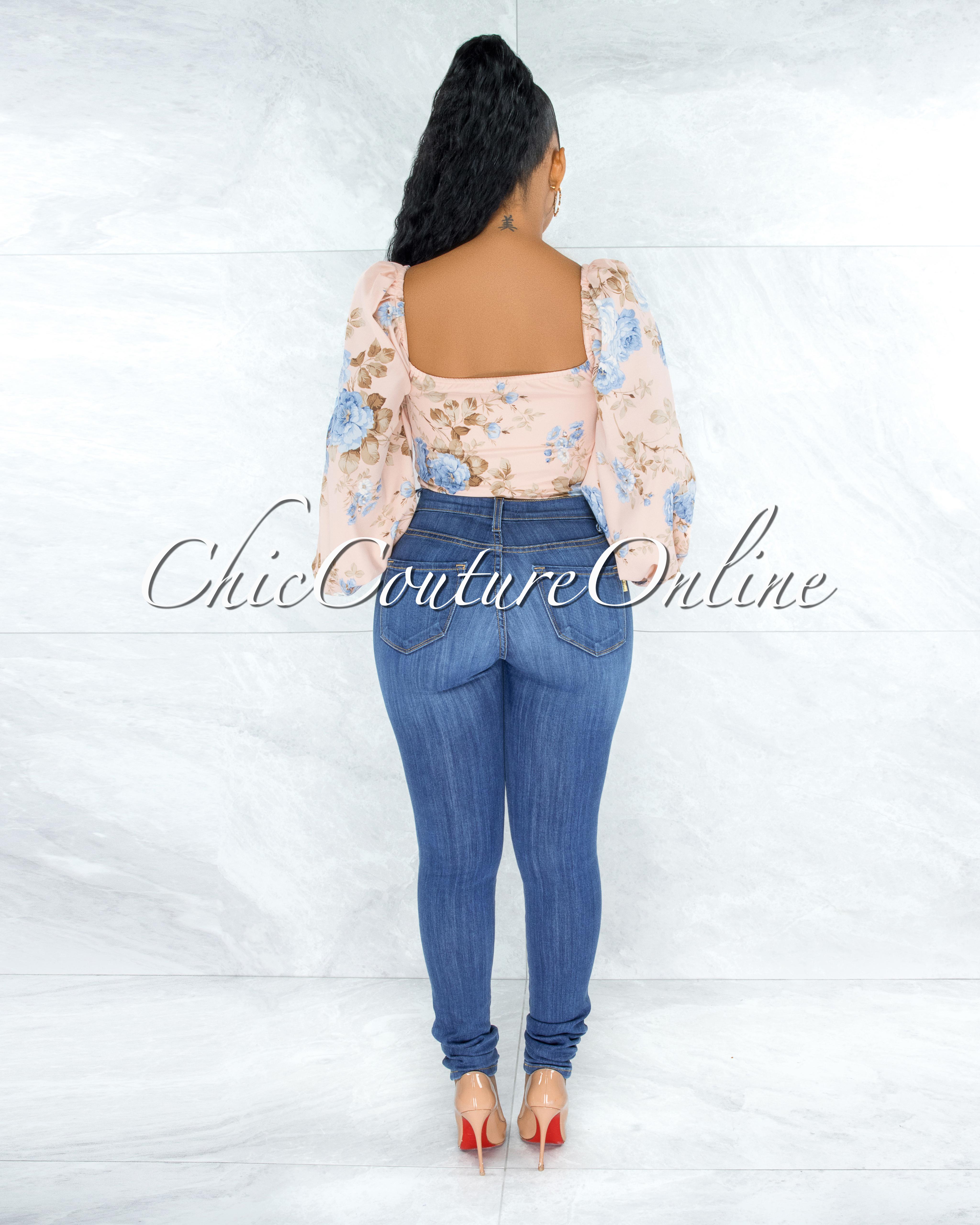 Engela Peach Floral Print Front Lace-Up Crop Top