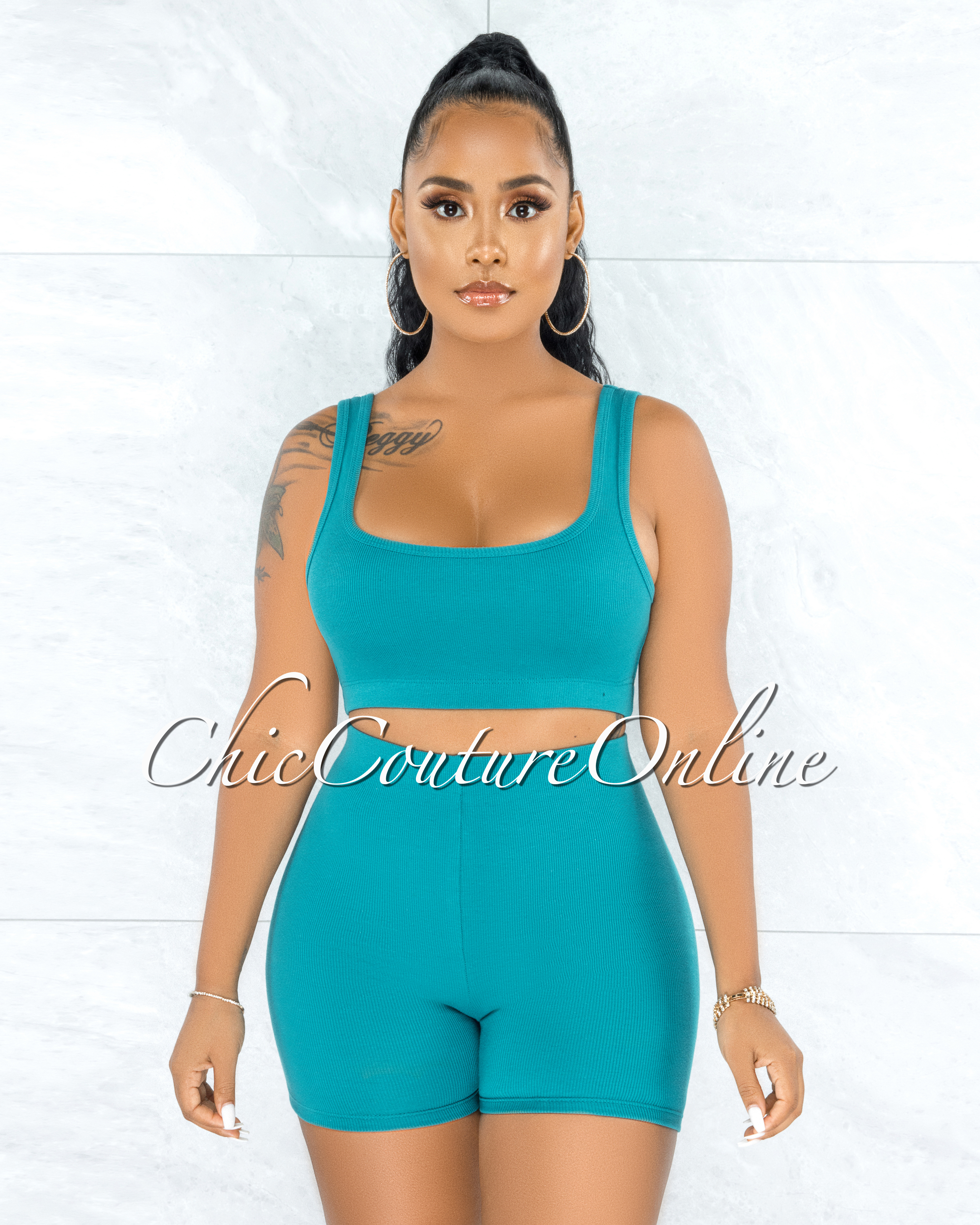 Elath Teal Ribbed Mini Shorts Set