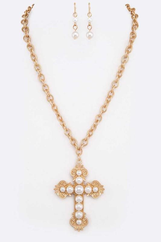 Satya Gold & Pearl Cross Pendant Necklace Set