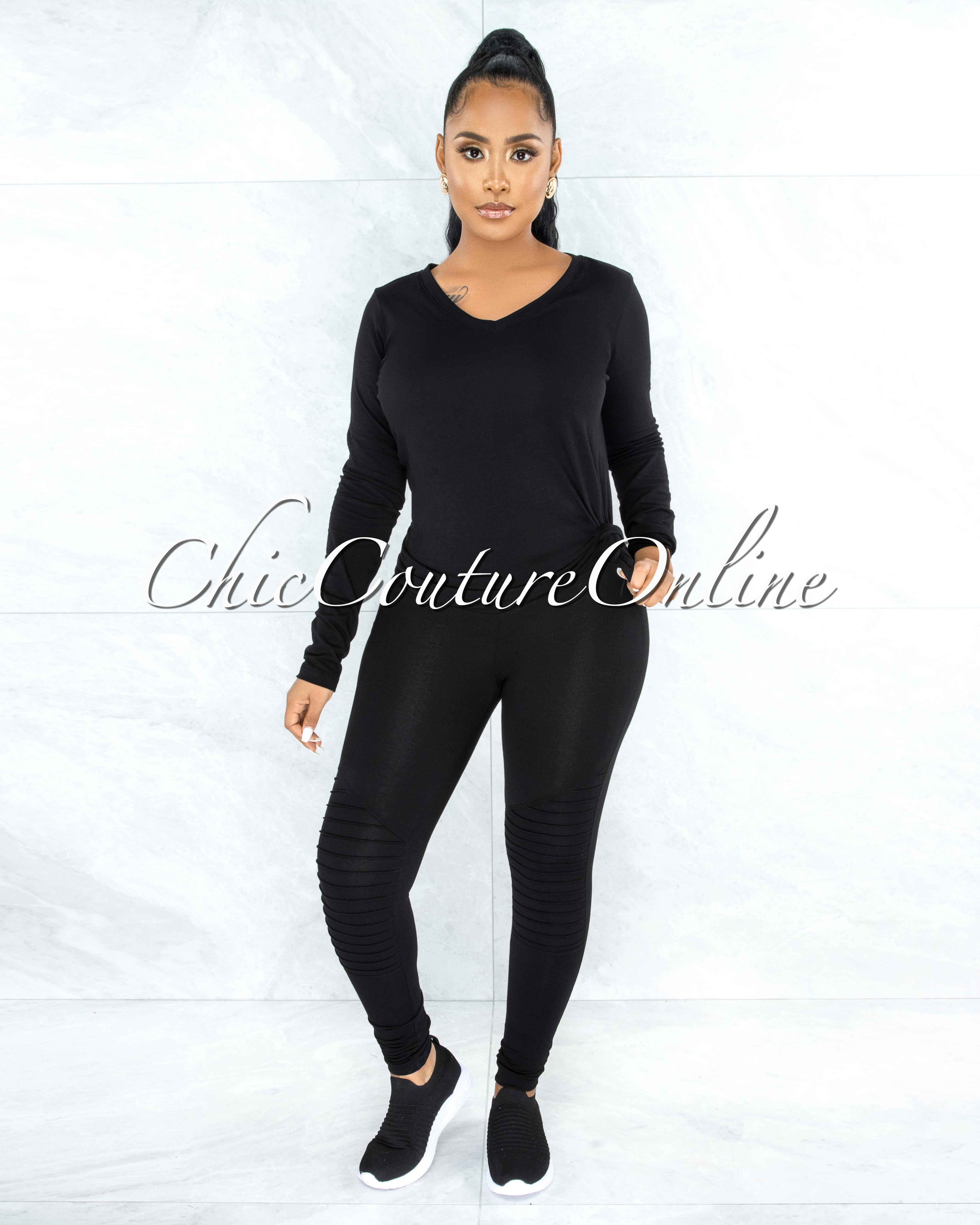 Dearoma Black Long Sleeves Top & Leggings CURVY Set
