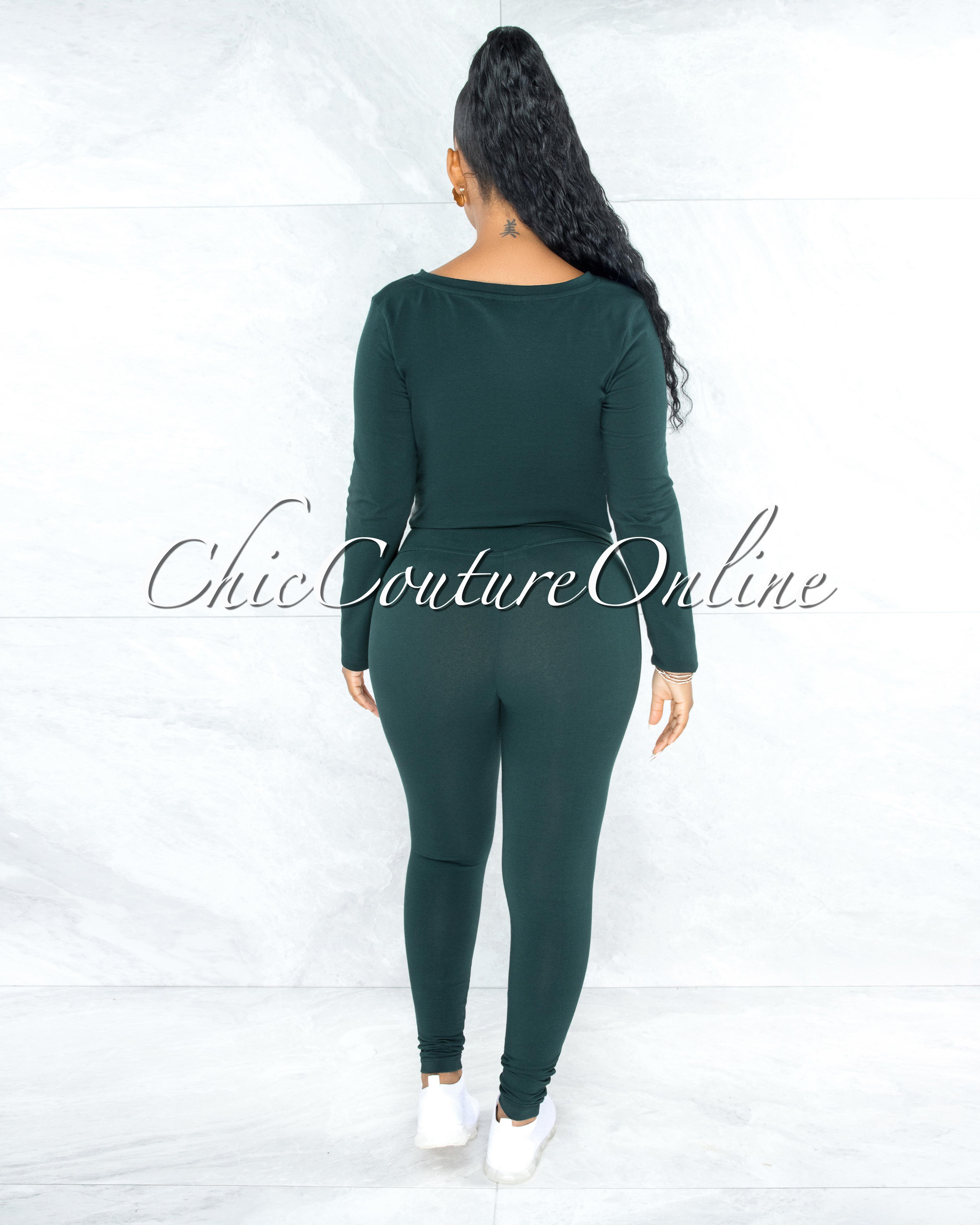 Dearoma Hunter Green Long Sleeves Top & Leggings CURVY Set