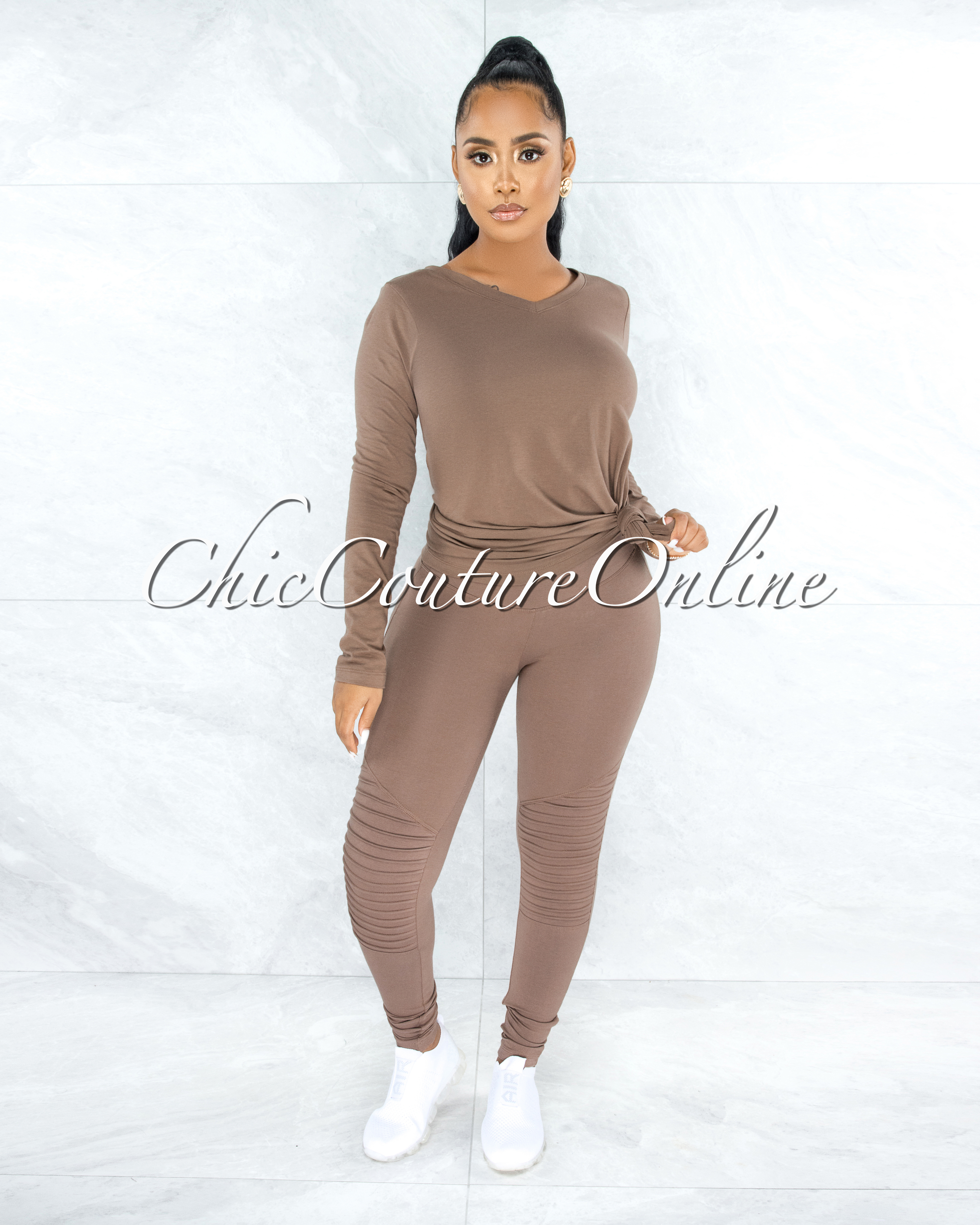 Dearoma Mocha Long Sleeves Top & Leggings CURVY Set