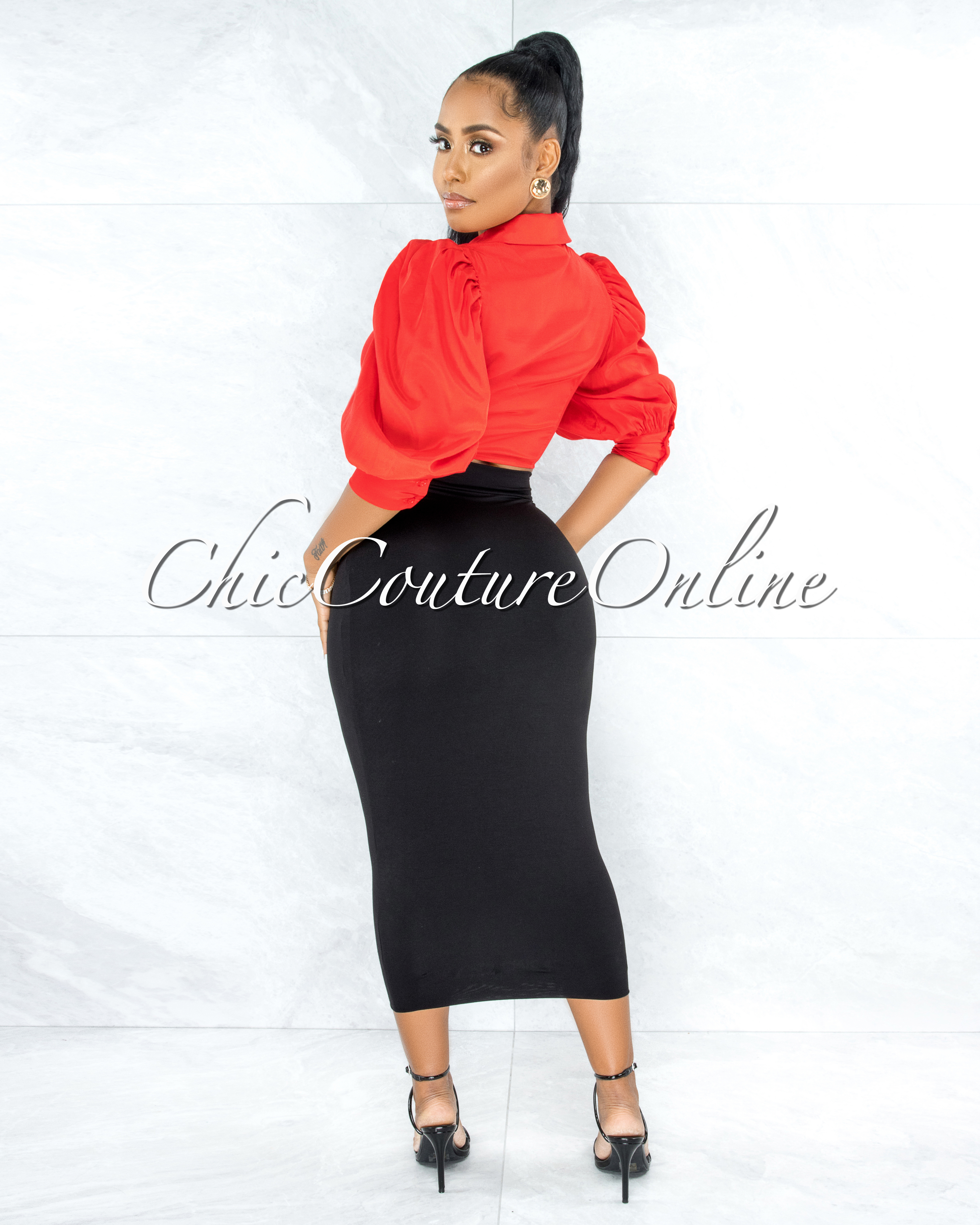 Gower Red Puffy Sleeves Front Tie Blouse