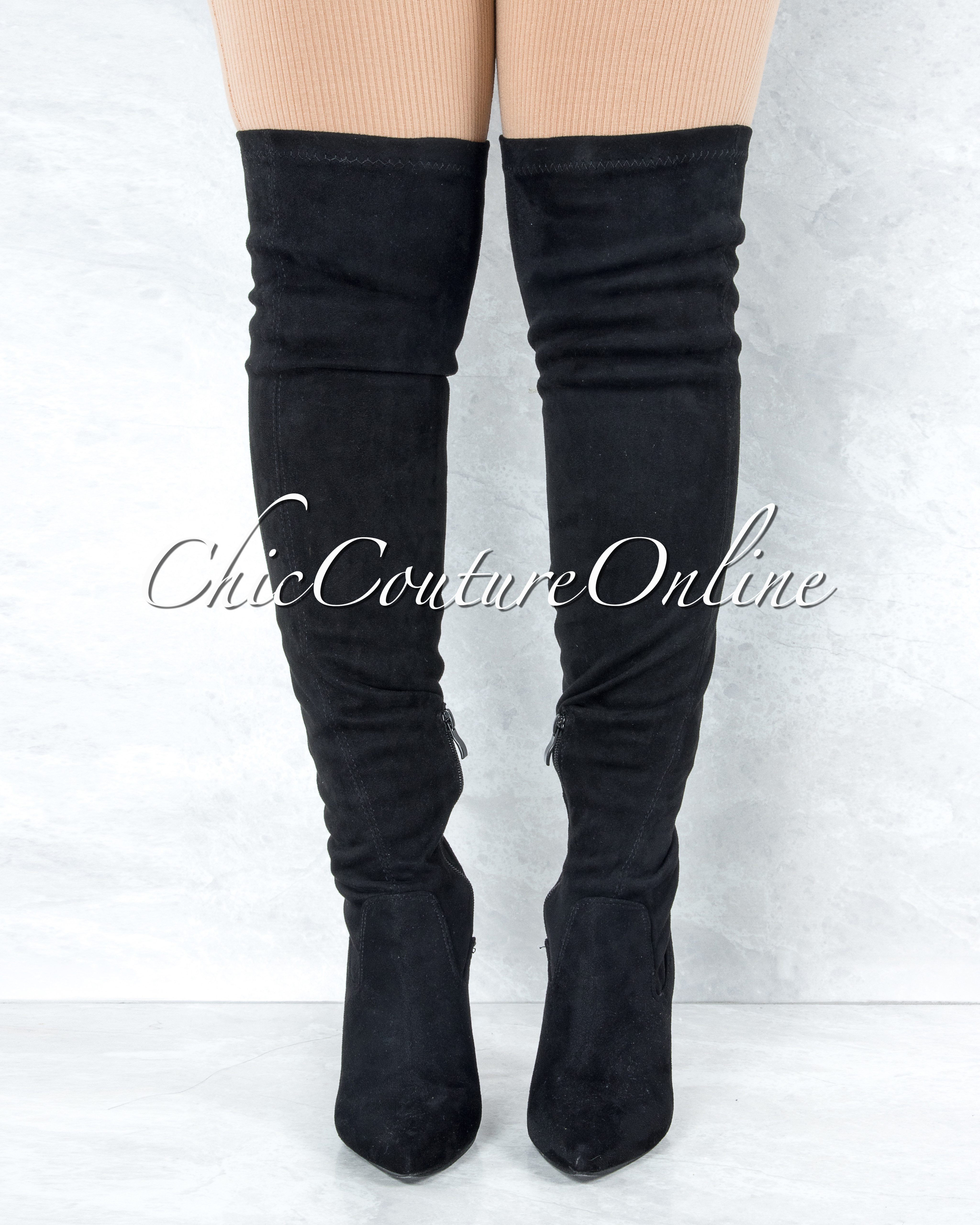 Vogue Black Faux Suede Over-The-Knee Boots