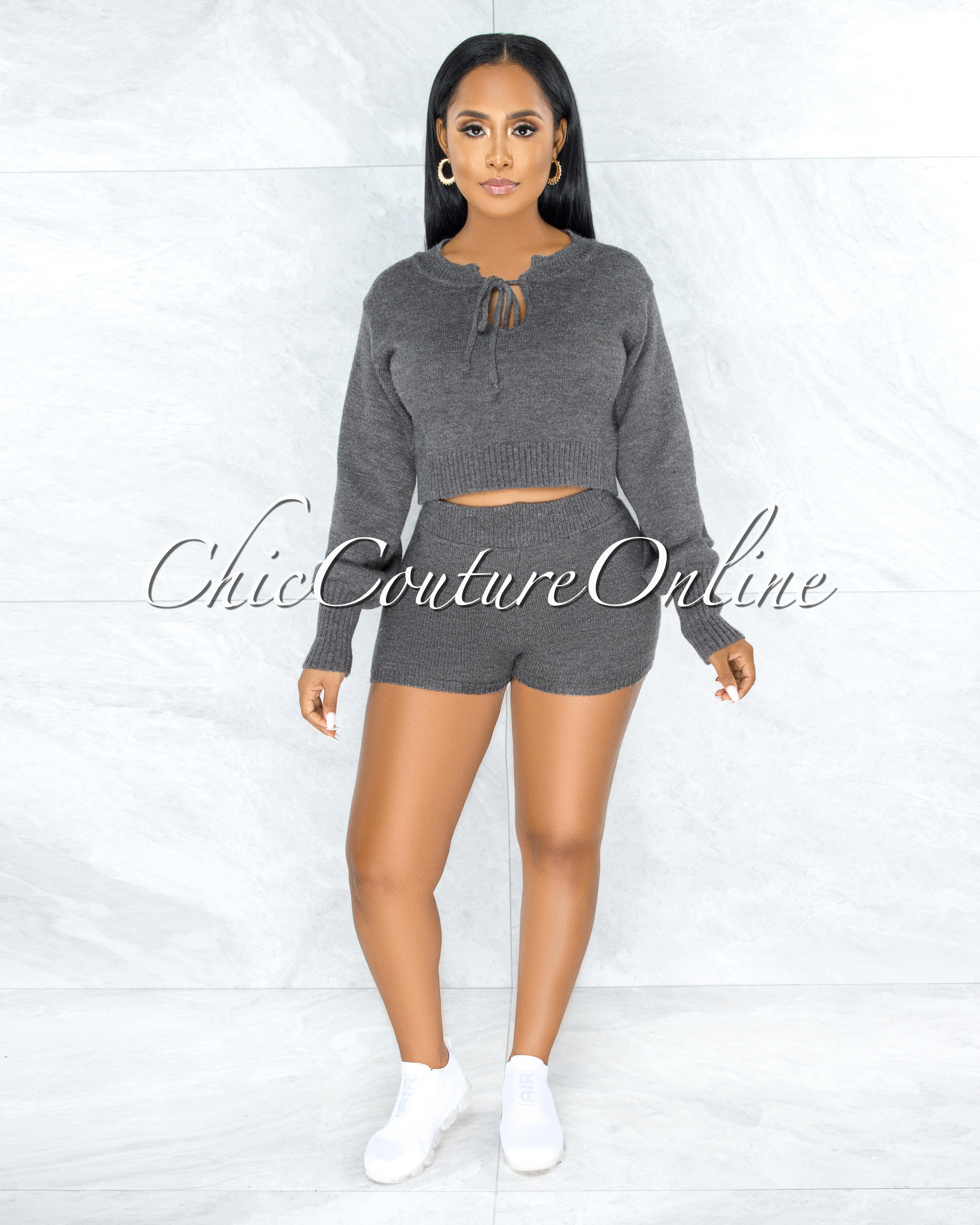 Keavy Grey Fury Sweater & Mini Shorts Two Piece Set