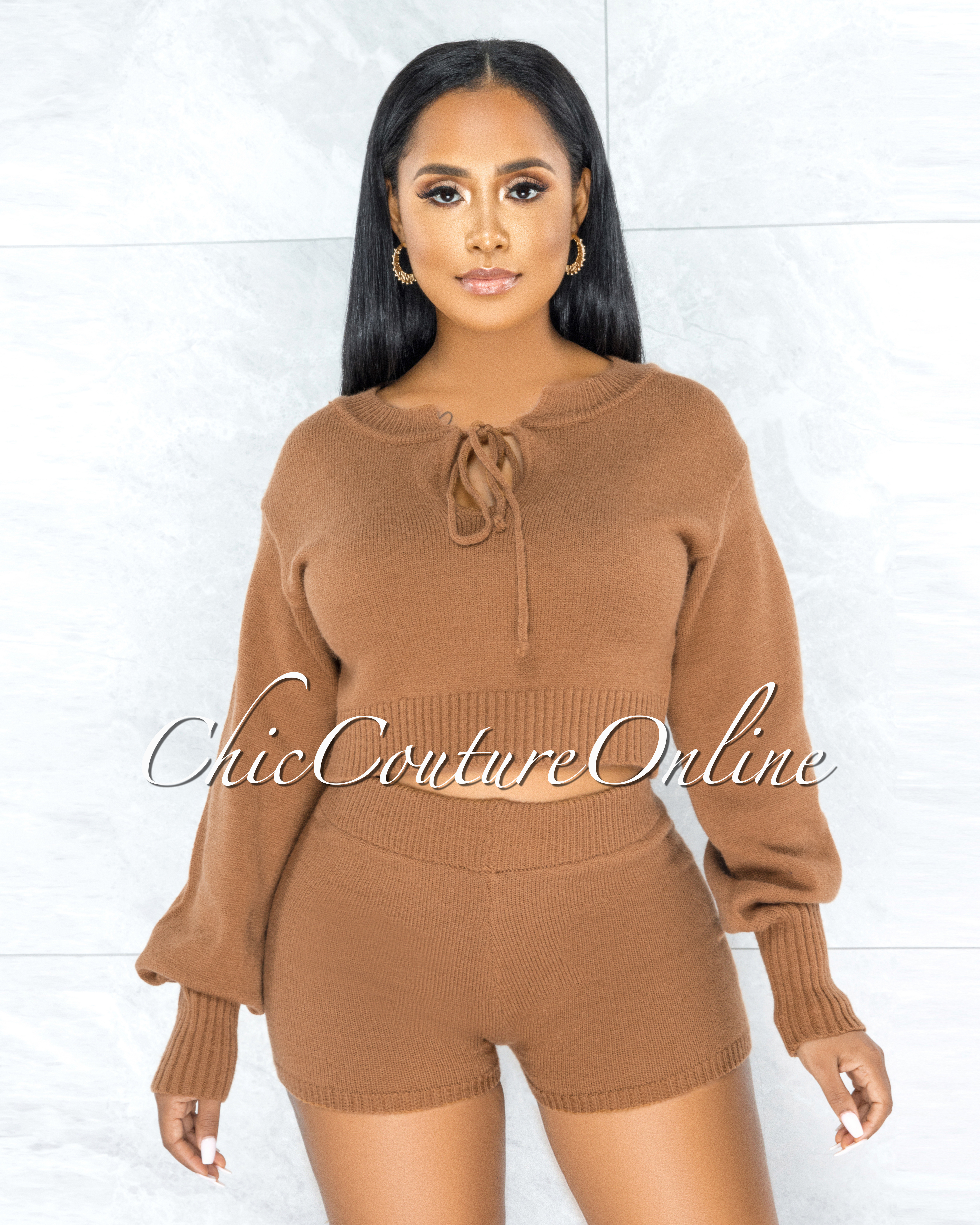 Keavy Camel Fury Sweater & Mini Shorts Two Piece Set