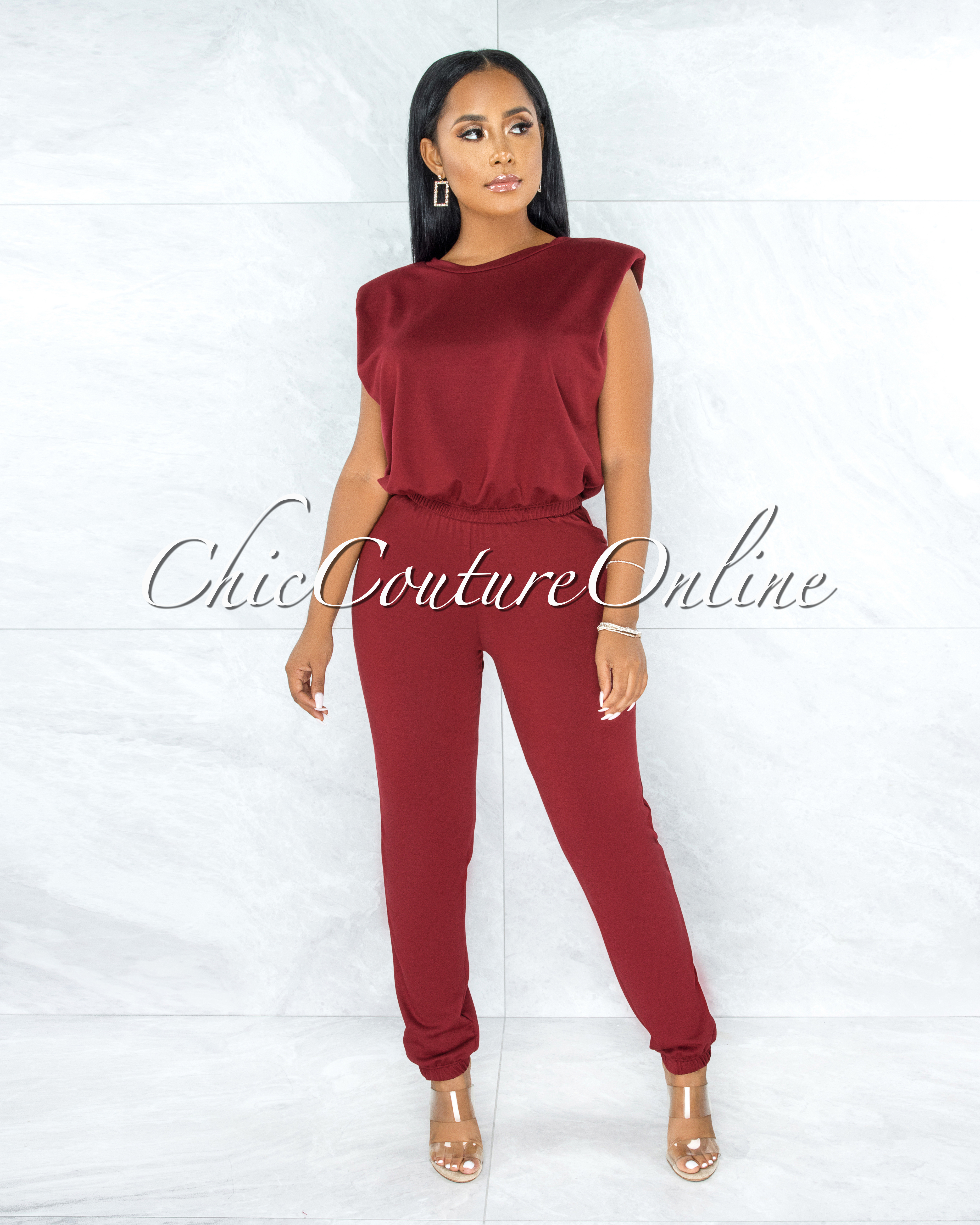 Darva Burgundy Padded Shoulders Top & Jogger Set