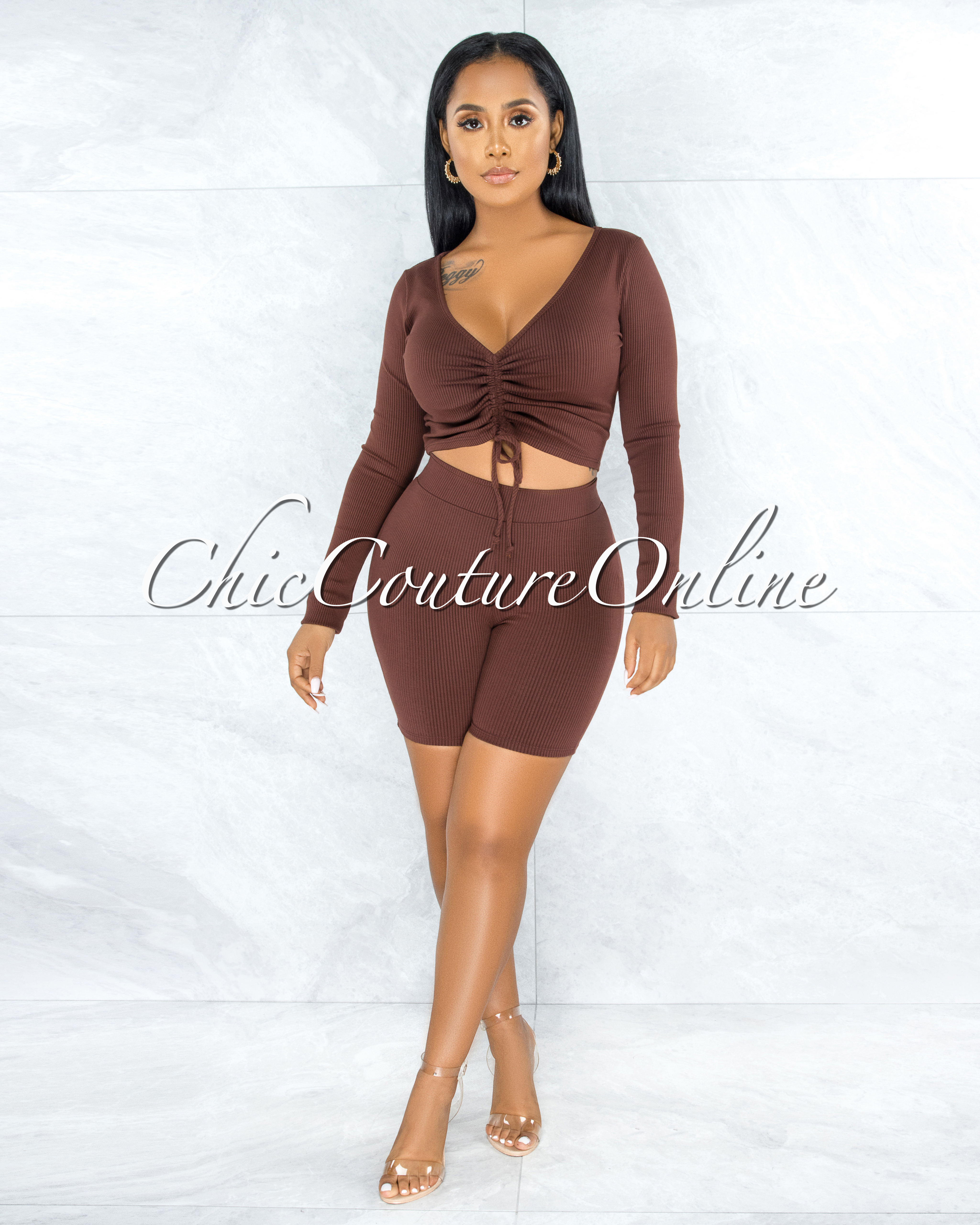 Giovanina Brown Front Ruched Crop Top