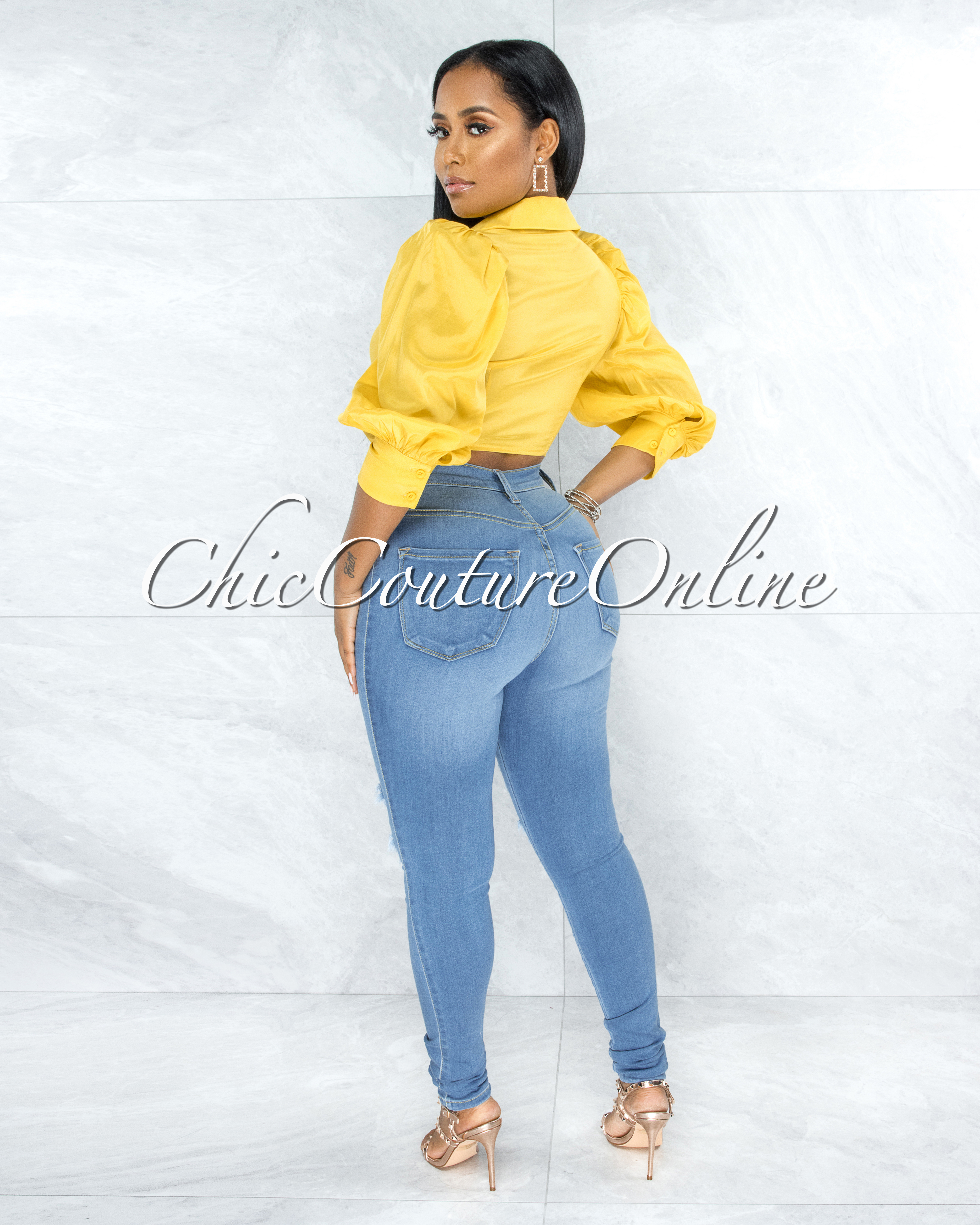 Gower Mustard Yellow Puffy Sleeves Front Tie Blouse