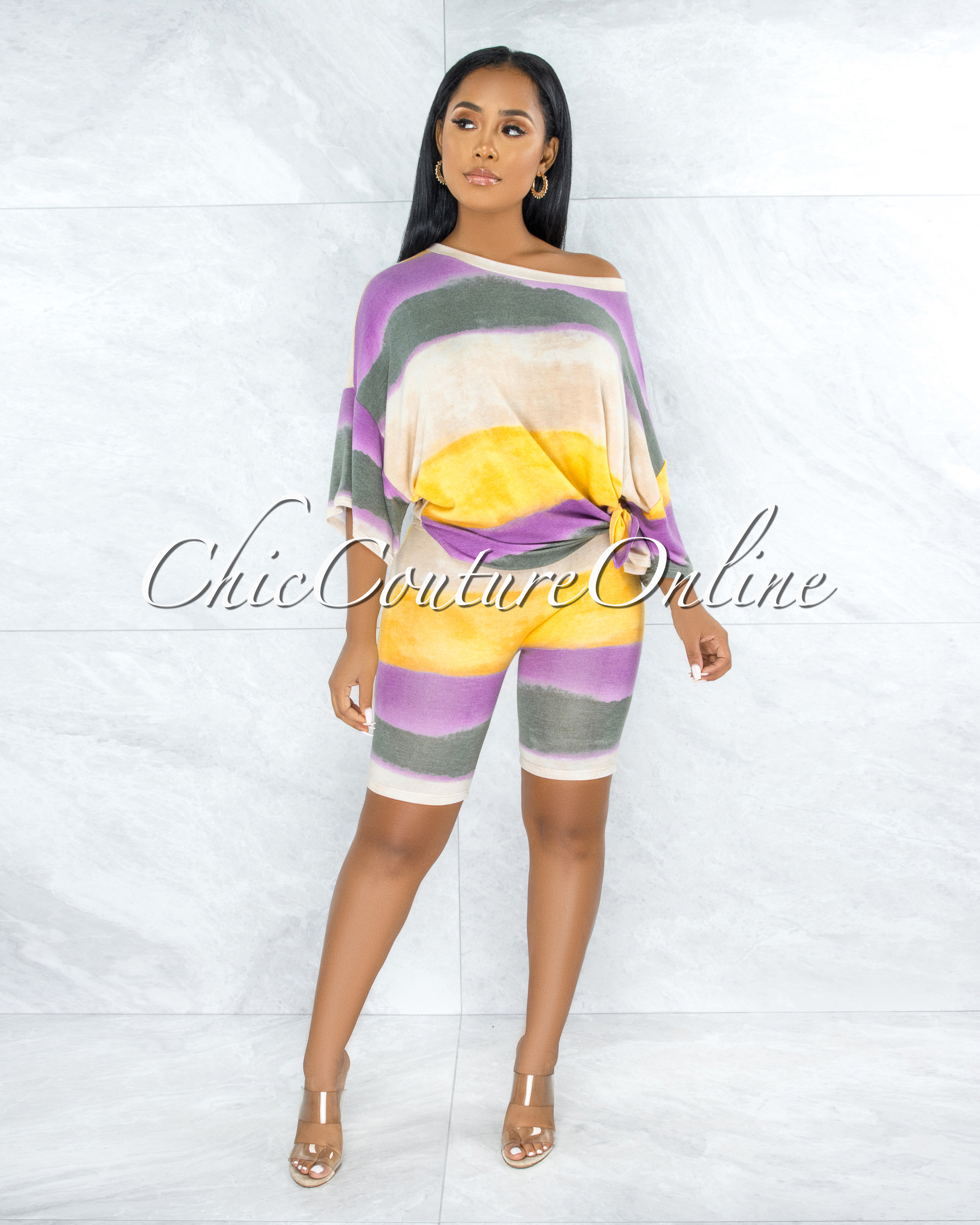 Prema Yellow Nude Purple Ombre Oversized Top Bike Shorts Set