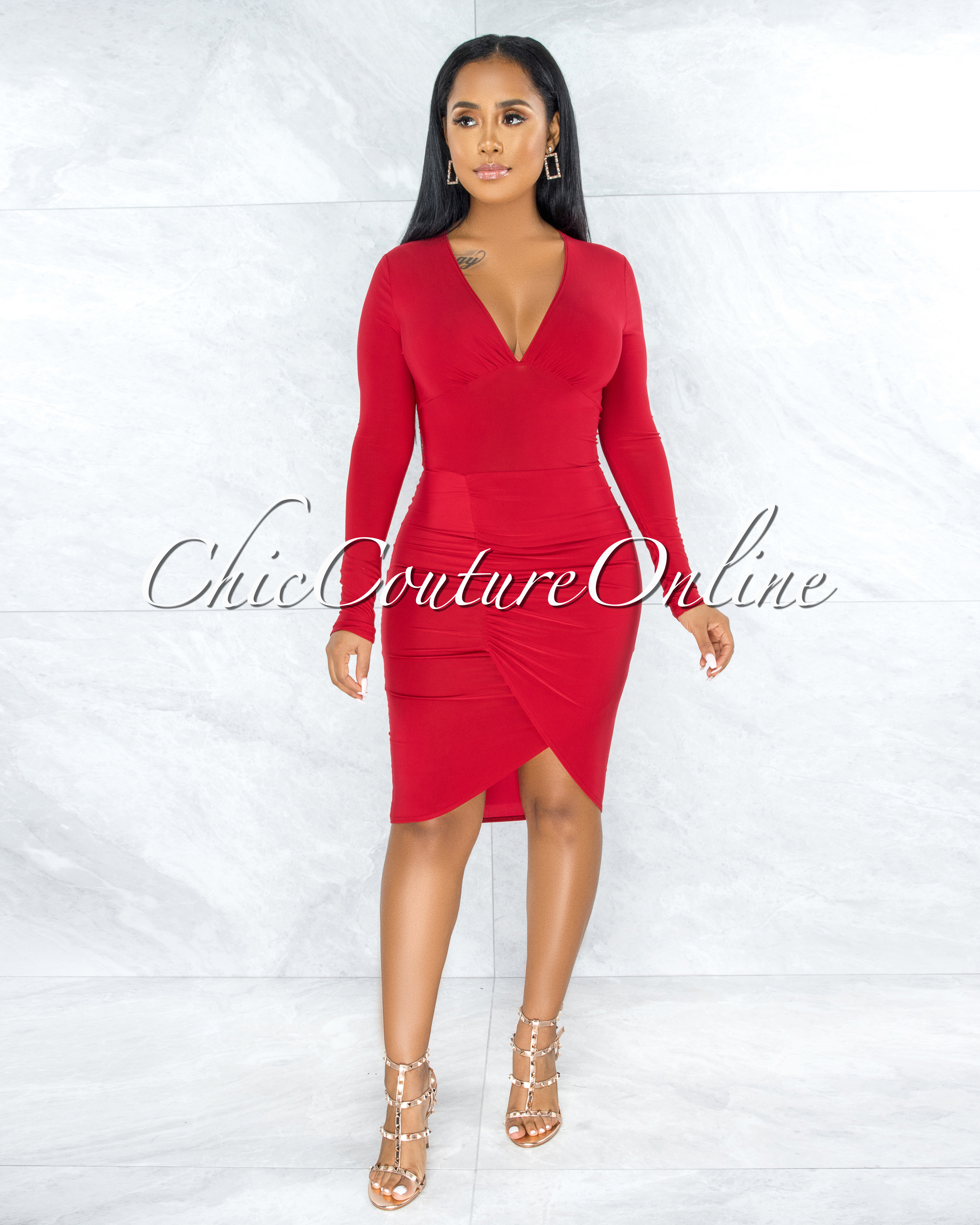 Trudy Red Draped Front Slit Midi Dress
