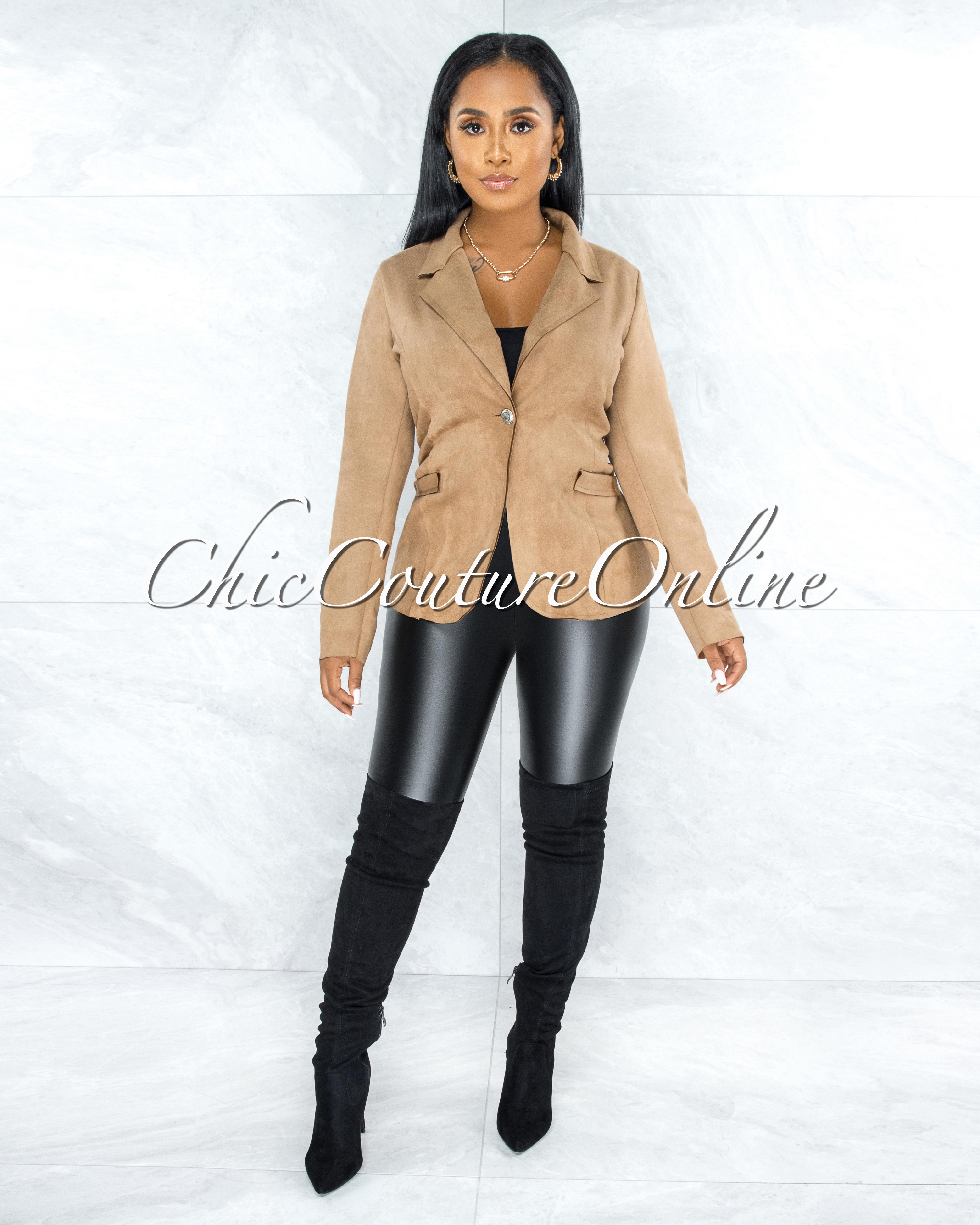 Yamina Nude Faux Suede Jacket