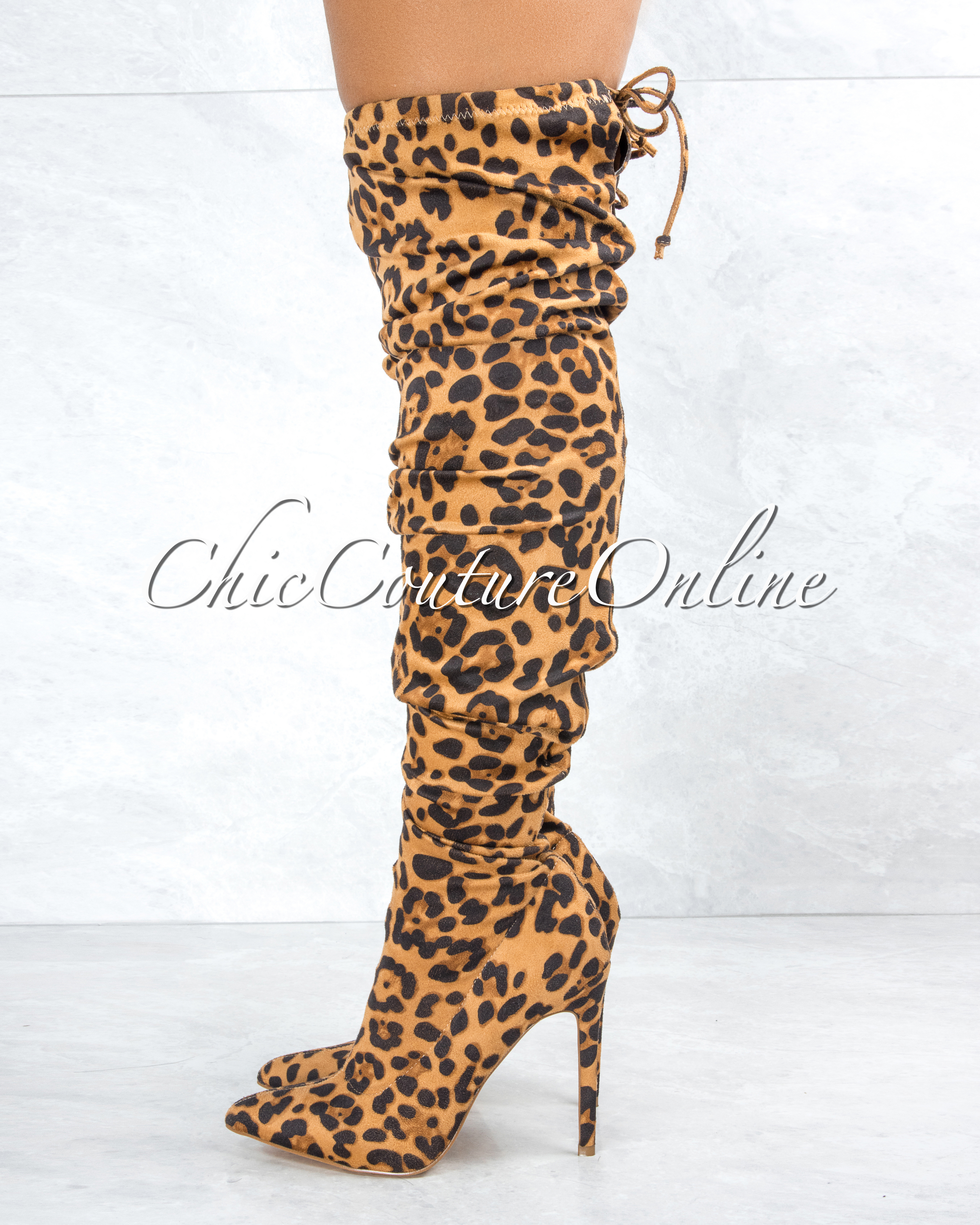 Vogue Leopard Faux Suede Over-The-Knee Boots