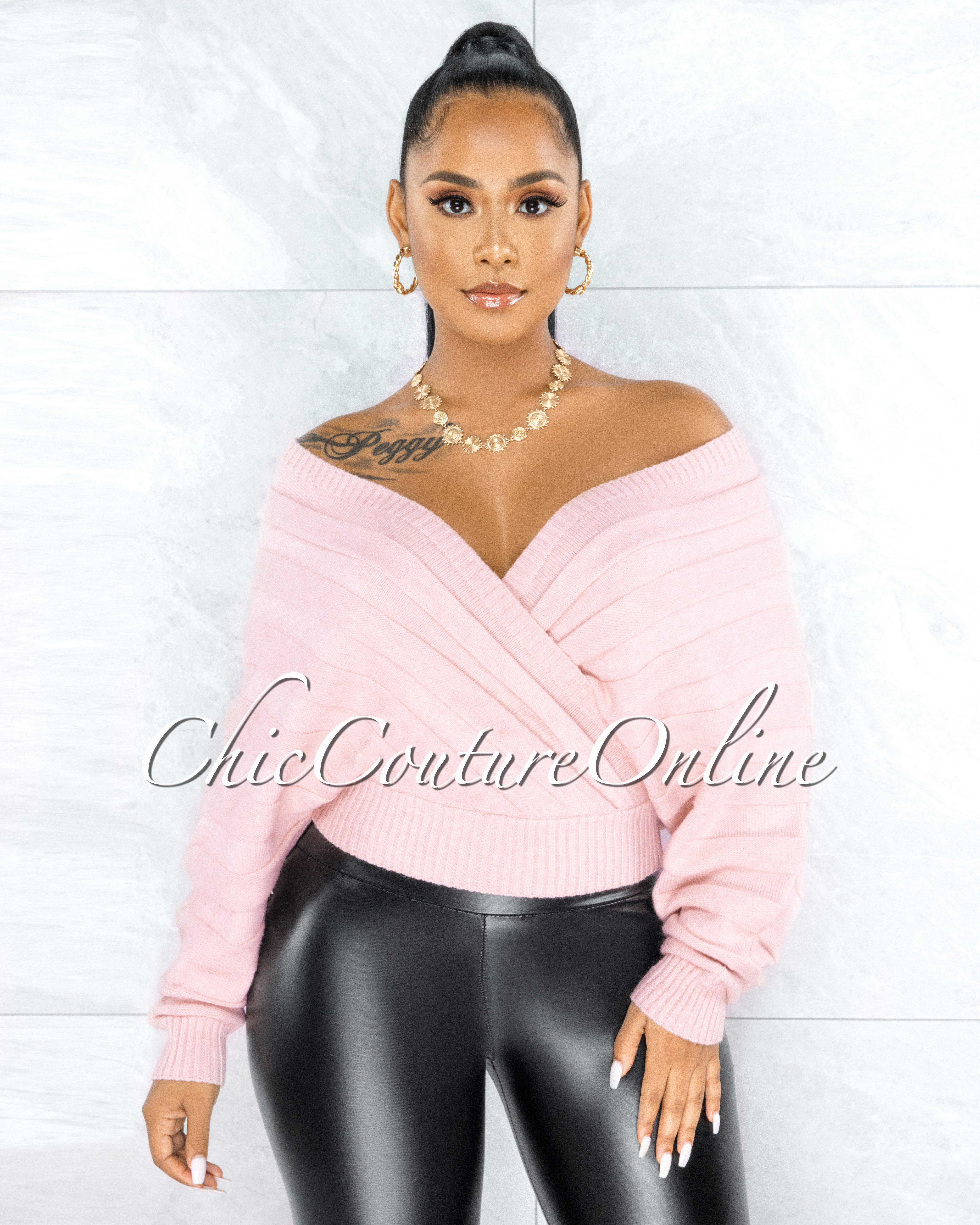Hyades Baby Pink Ribbed Knit Wrap Top