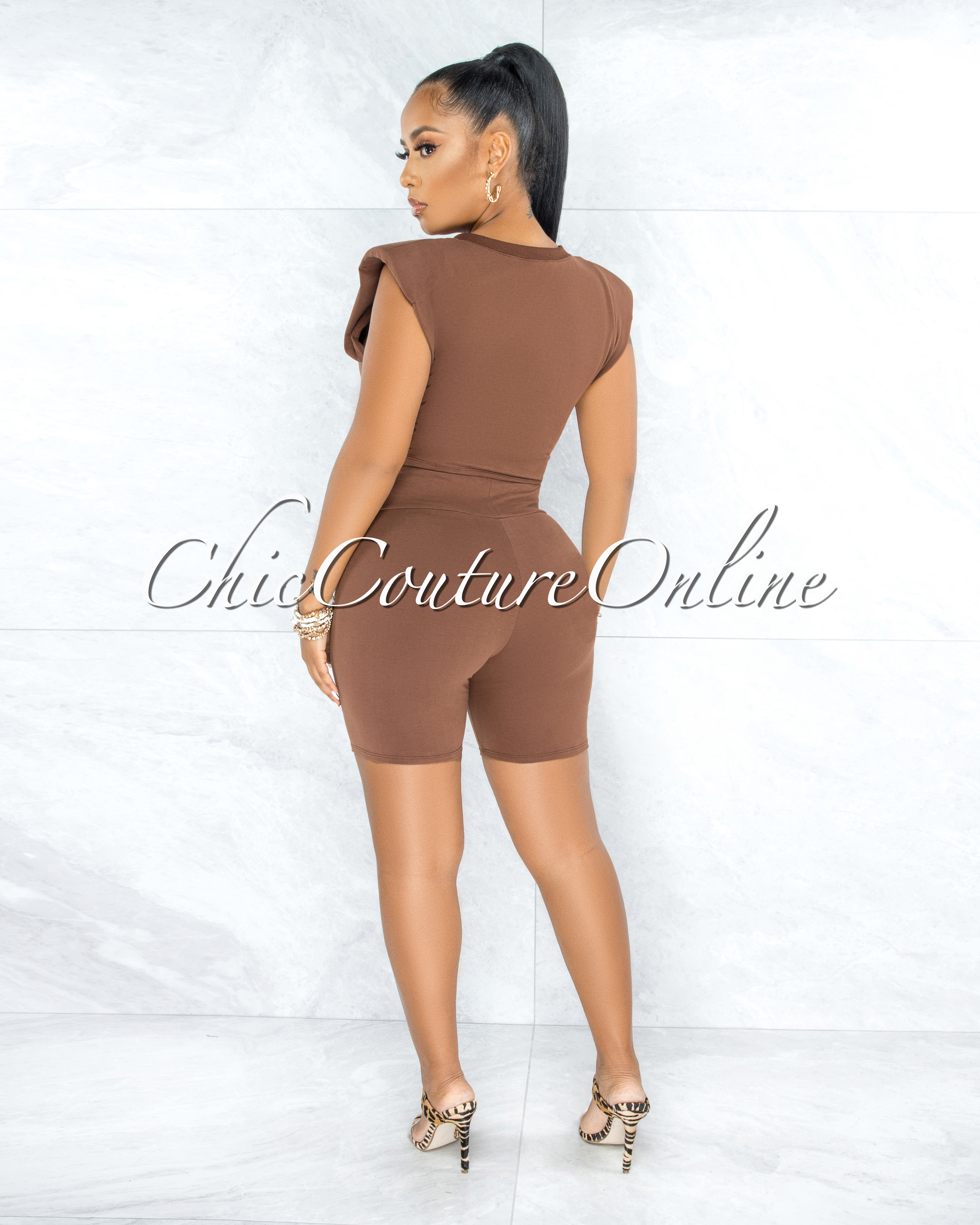 Lupe Brown Padded Shoulders Top & Shorts Set