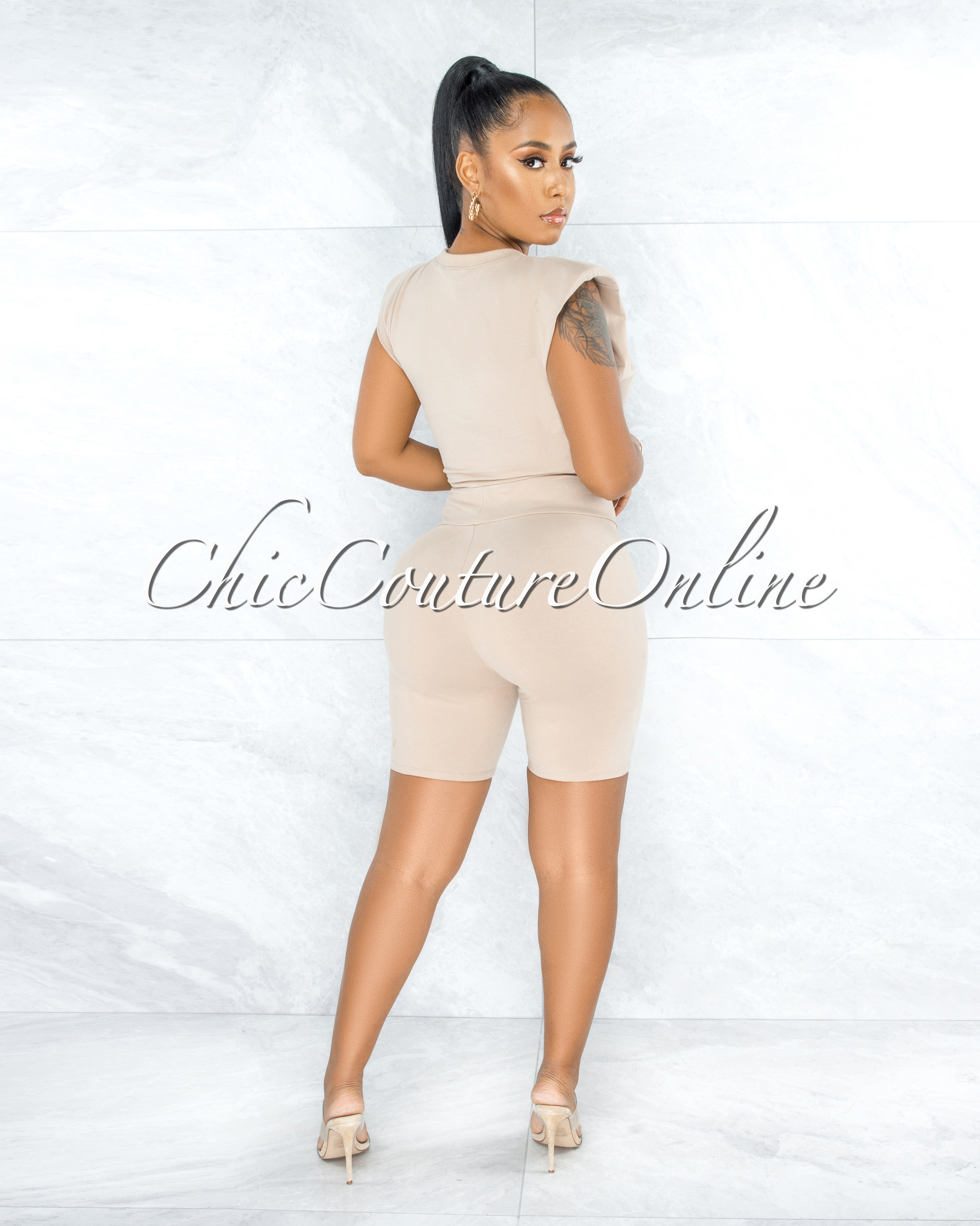 Lupe Nude Padded Shoulders Top & Shorts Set