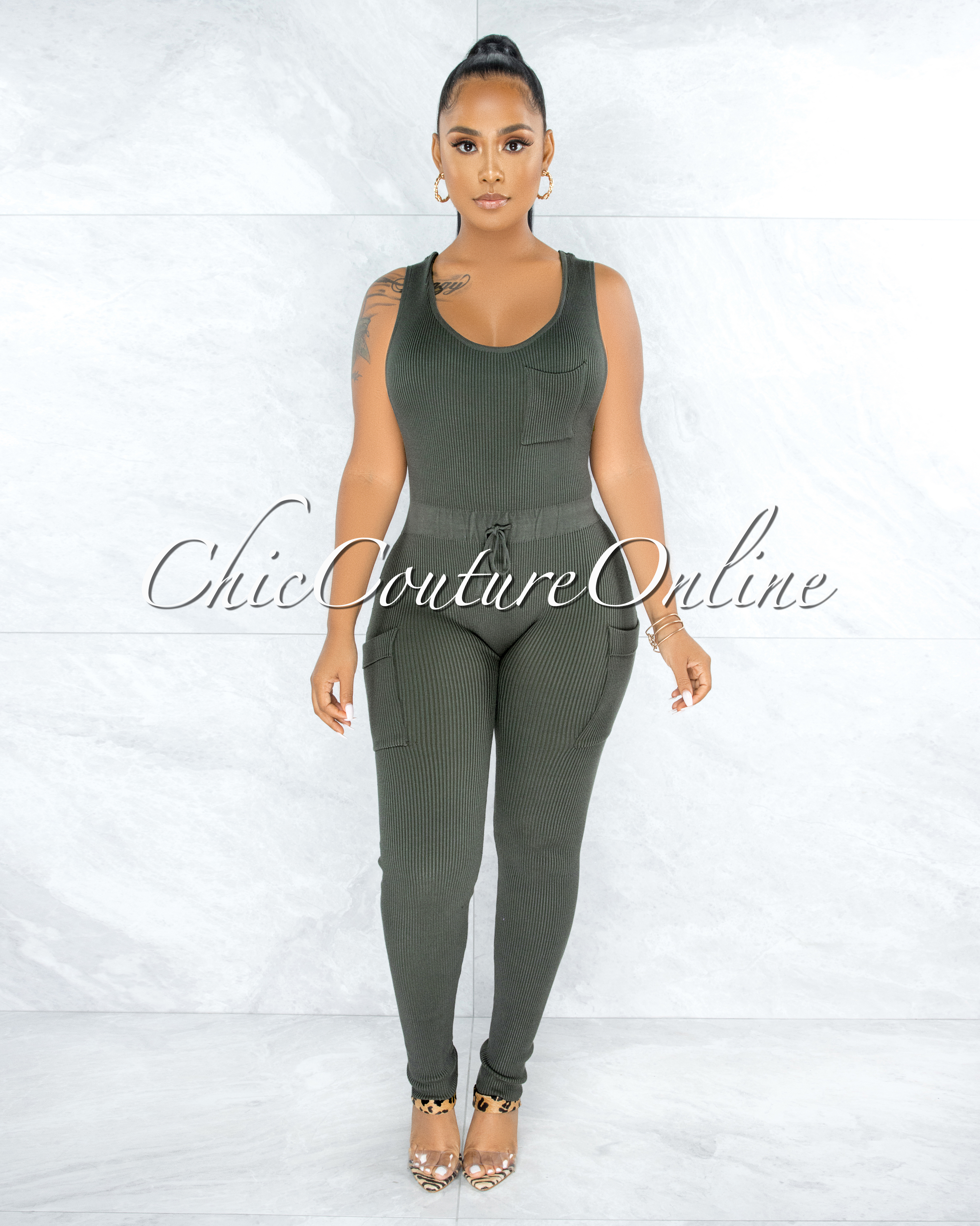 Kanya Military Green Ribbed Utility Cargo Jumpsuit