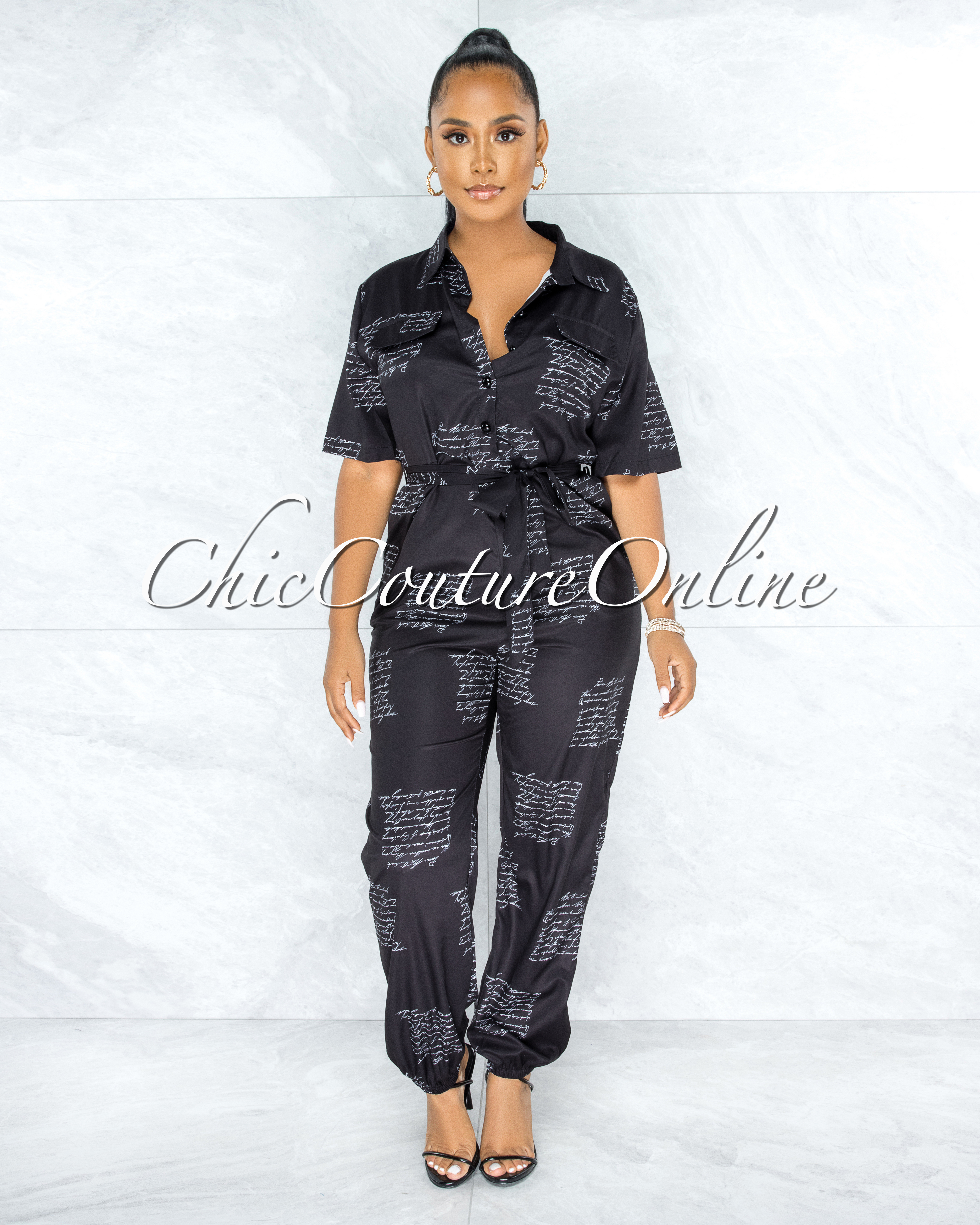 Aurely Black White Handwriting Trench Jumpsuit