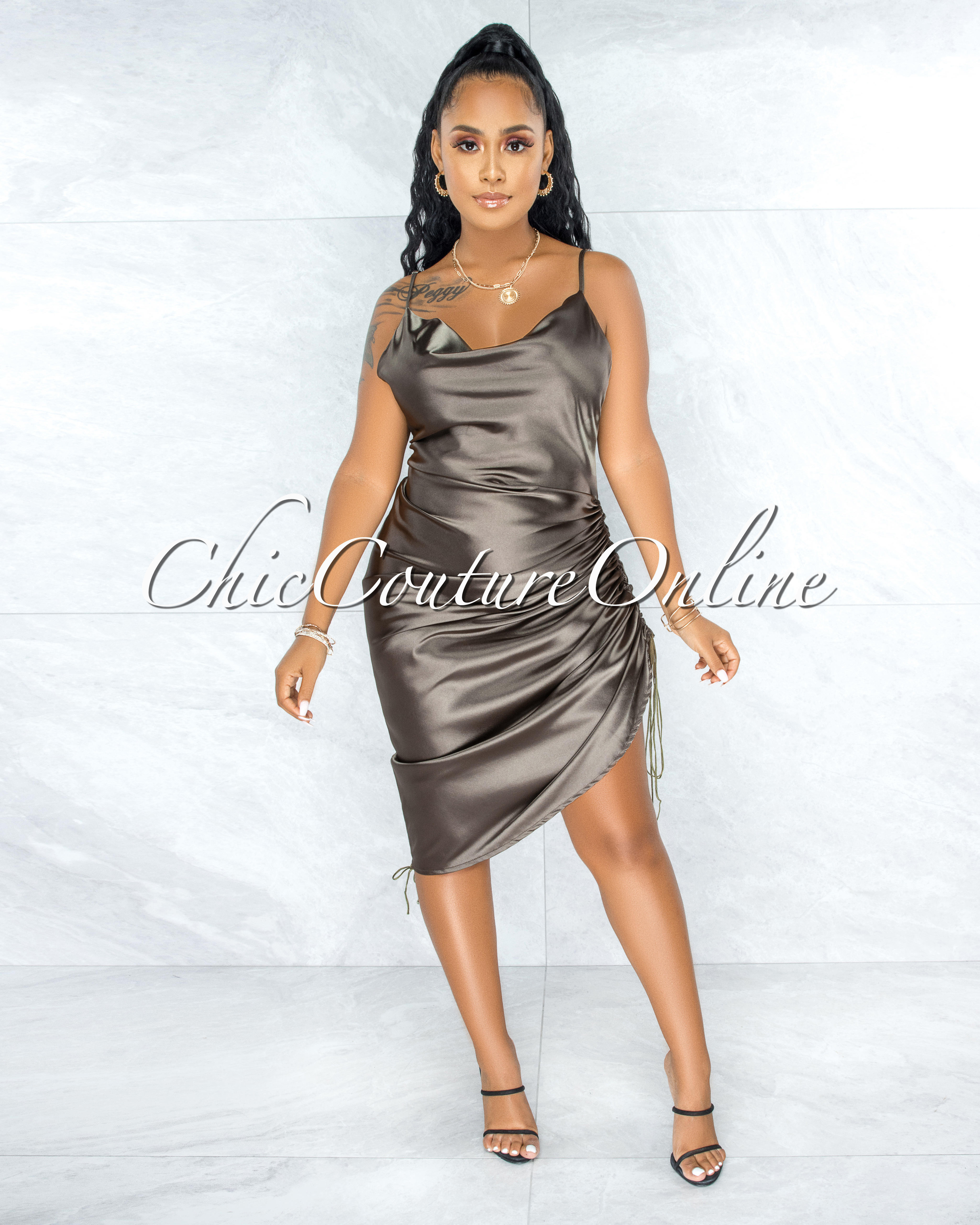 Armona Olive Green Satin Ruche Sides Multi-Way Dress