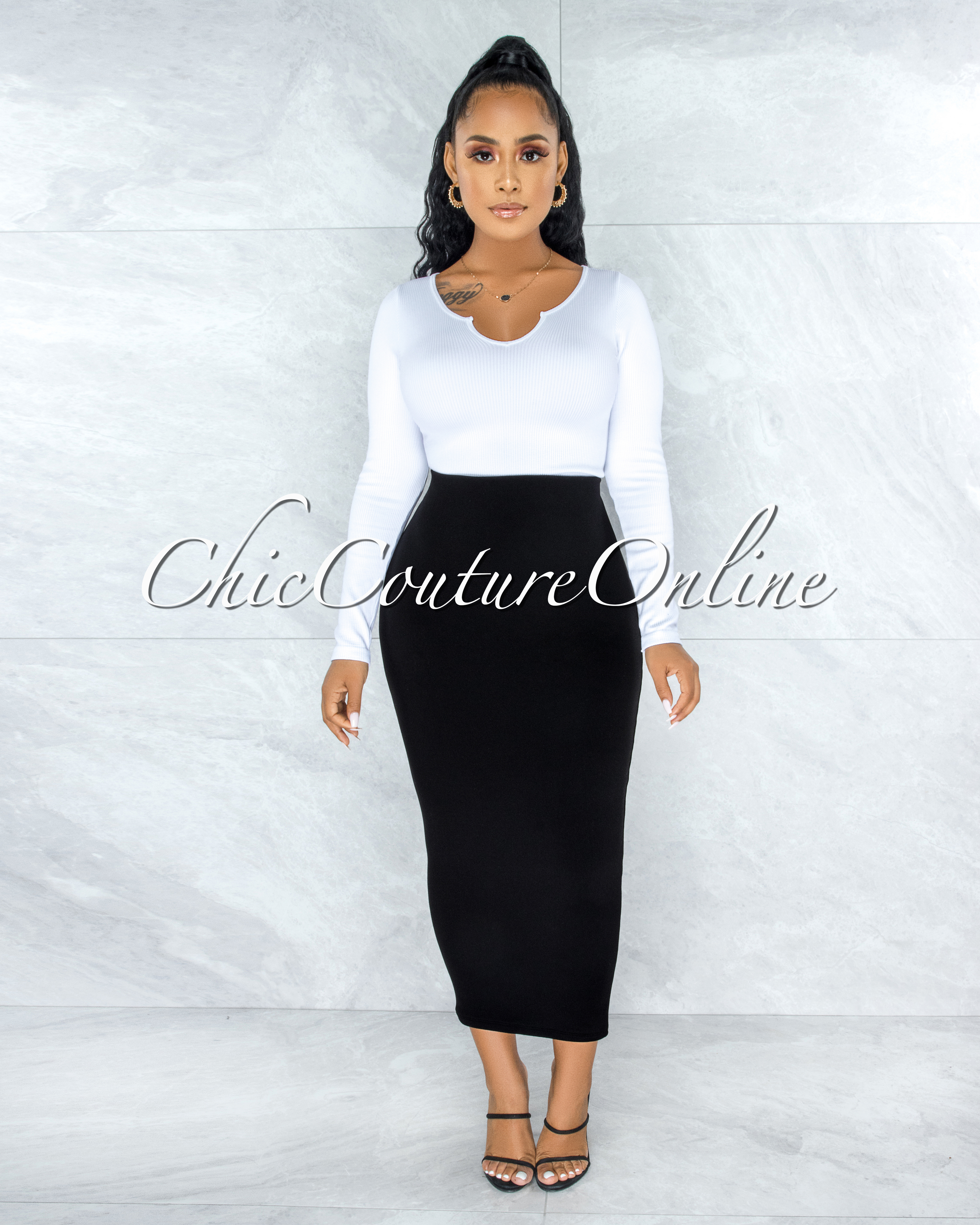 Doneva Black Double Lined Pencil Maxi Skirt