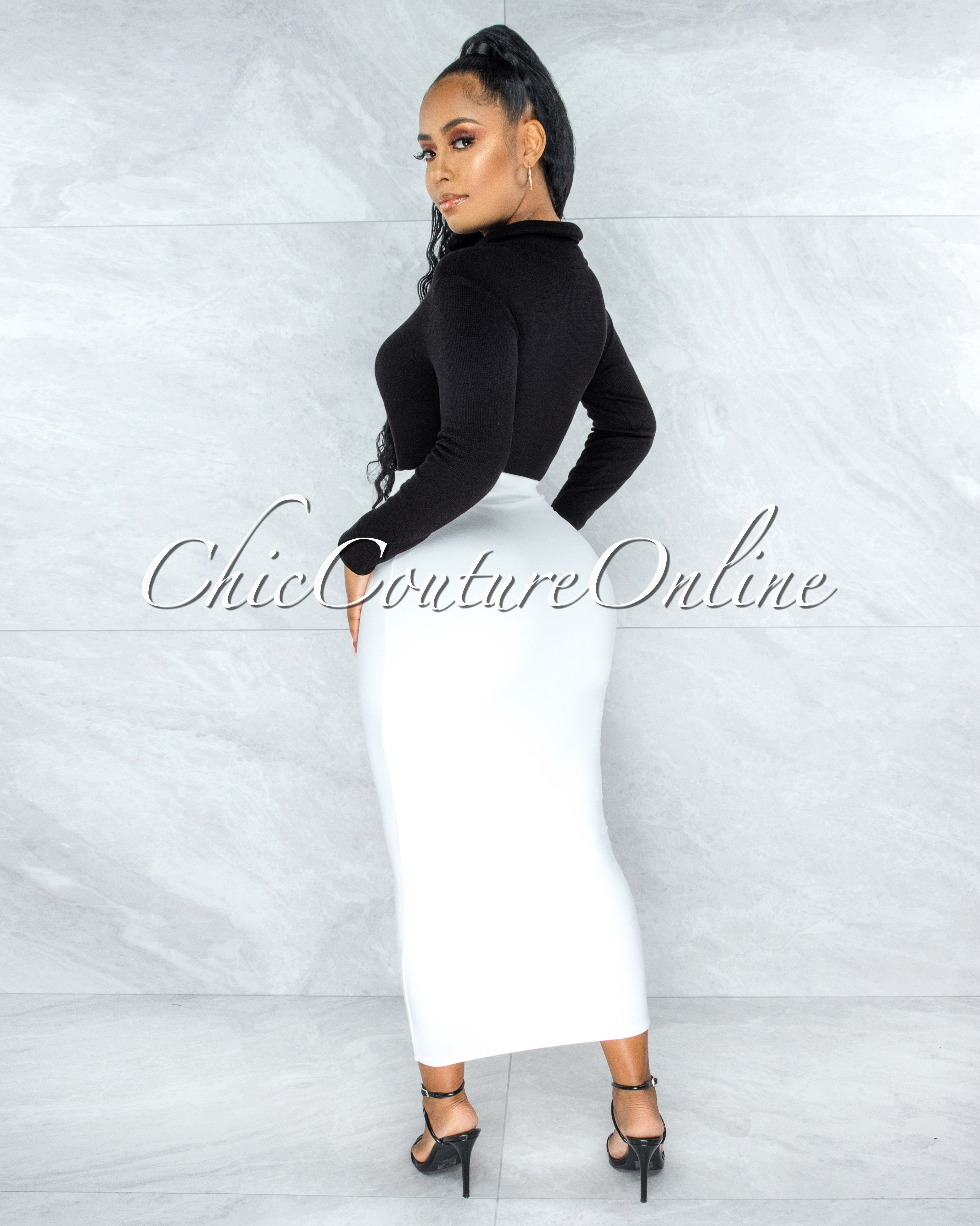 Doneva Off-White Double Lined Pencil Maxi Skirt