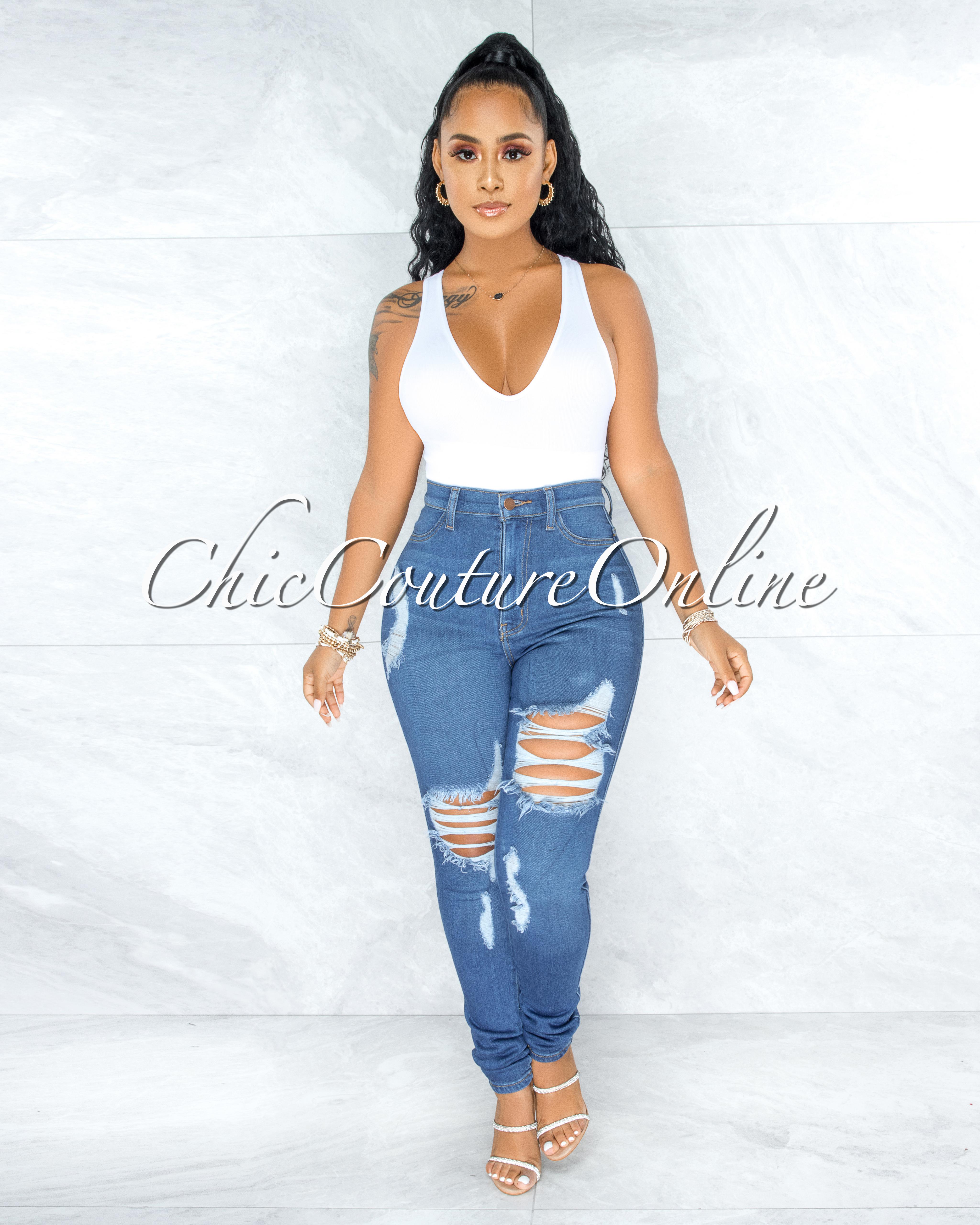 Alfreda Medium Denim High-Waist Distressed Skinny Jeans