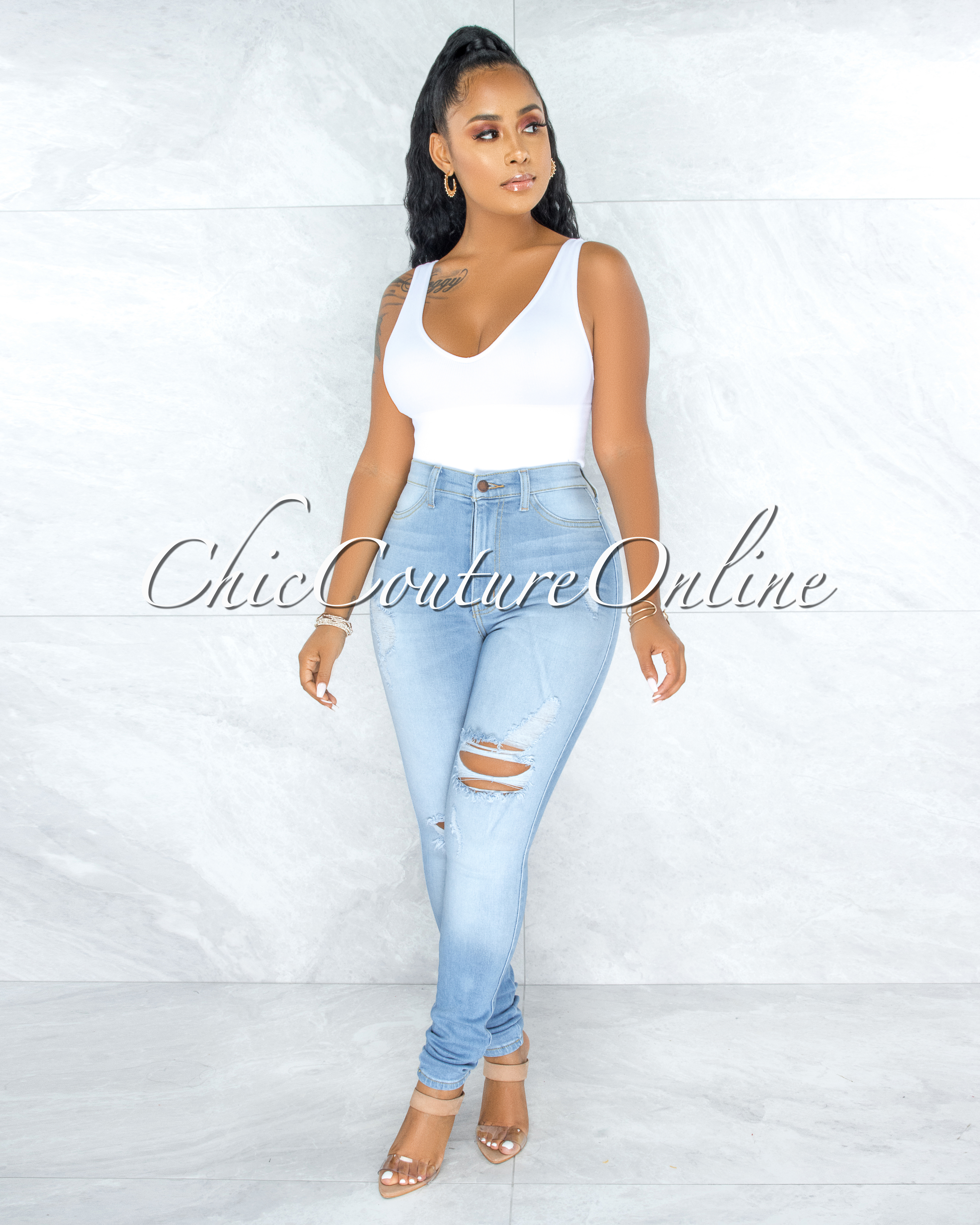 Alfreda Light Denim High-Waist Distressed Skinny Jeans
