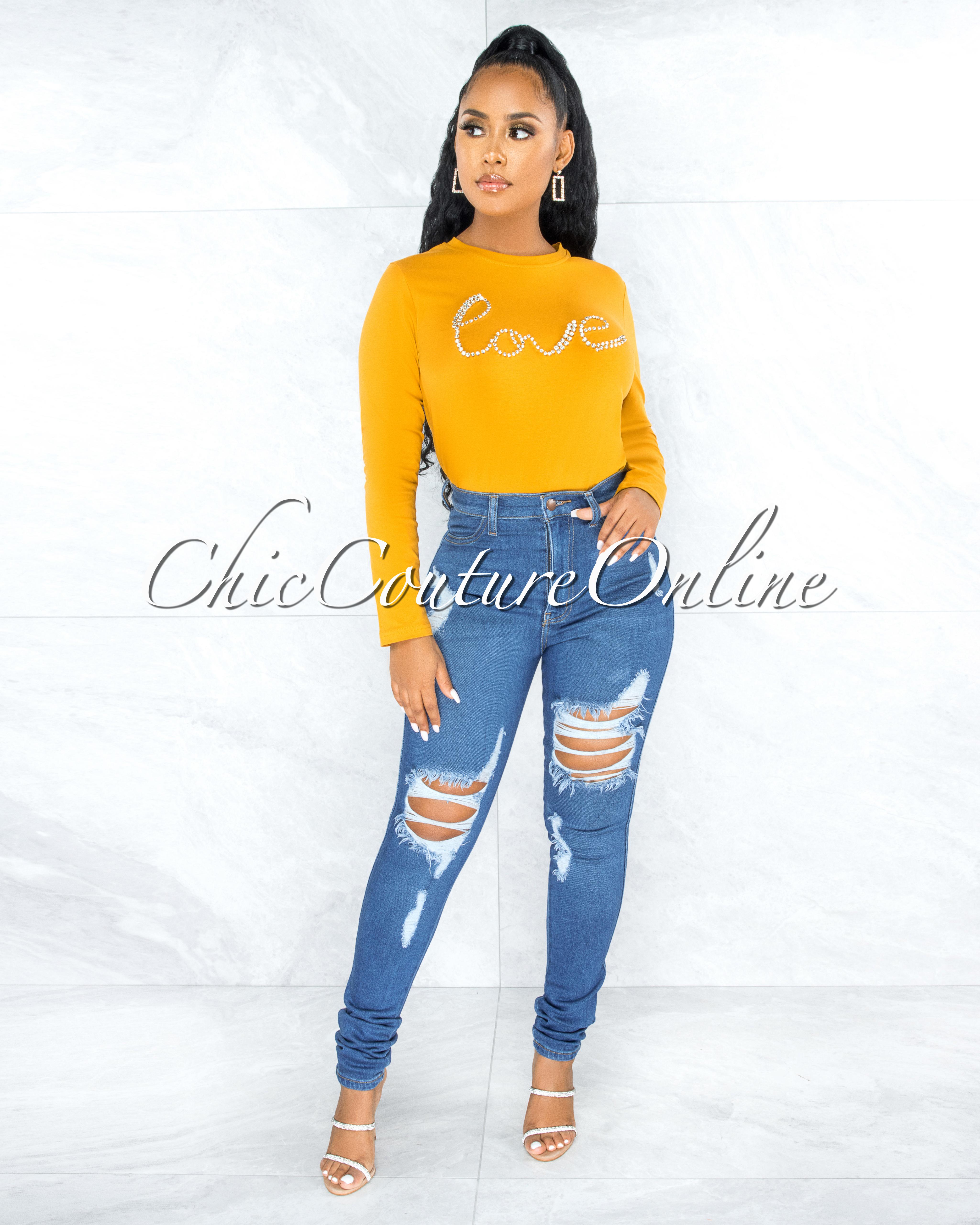 Licey Yellow Silver Rhinestones Love Graphic T-Shirt