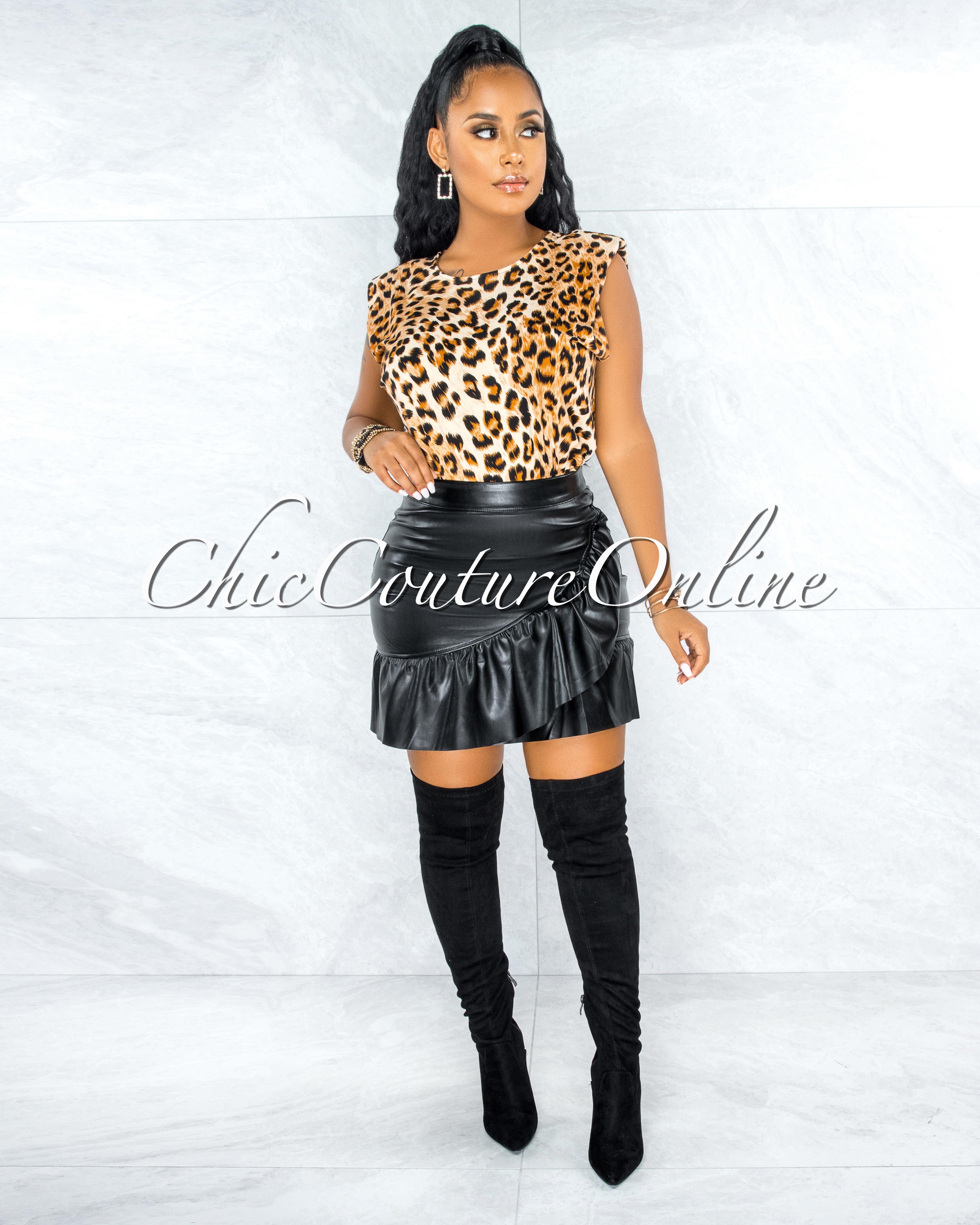 Susy Black Ruffle Faux Leather Mini Skirt