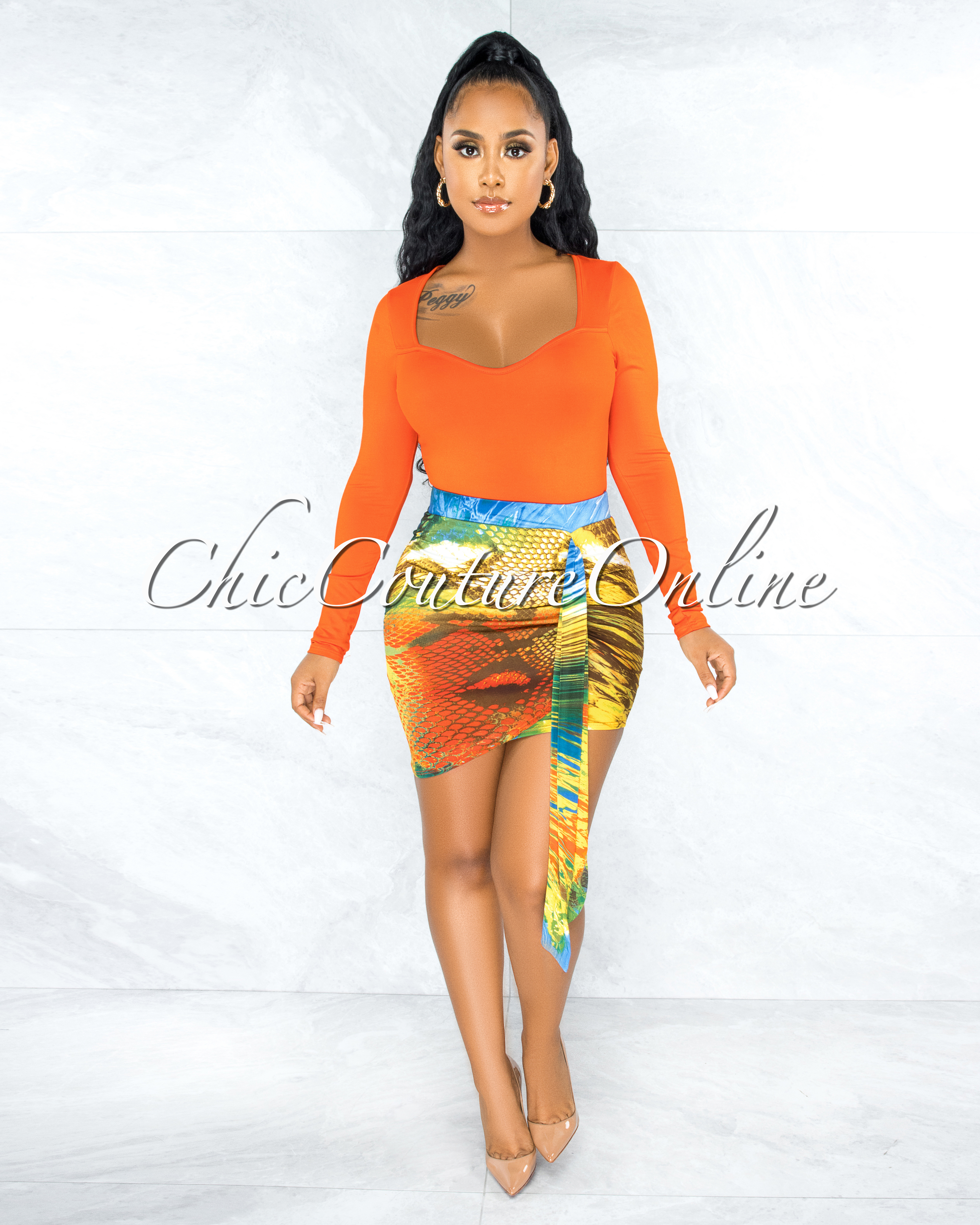 Chavi Orange Multi-Color Print Ruched Straps Dress